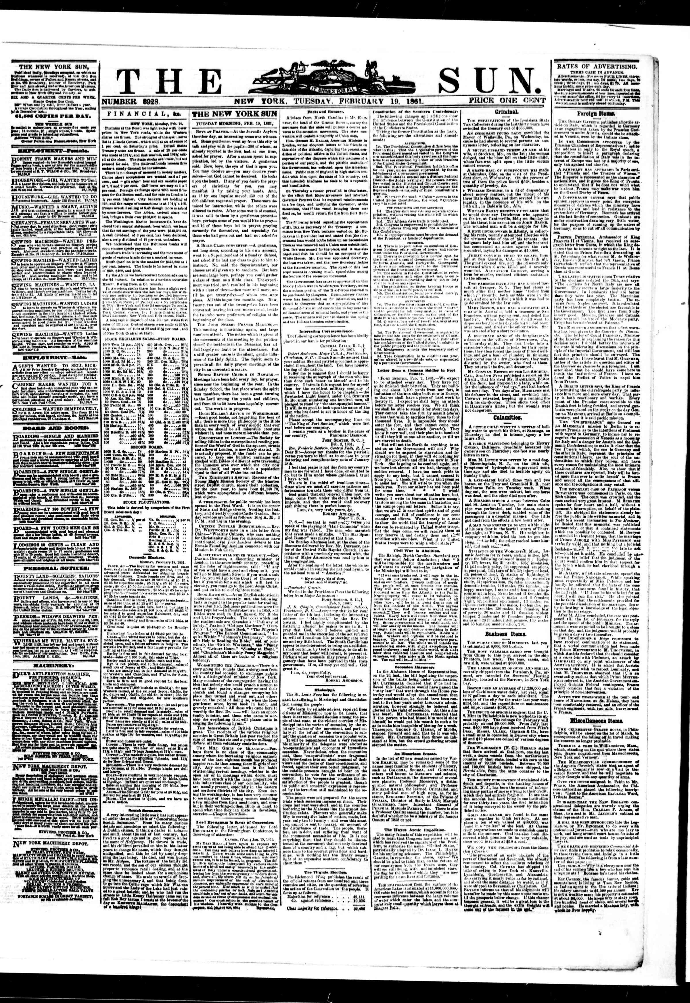 19 Şubat 1861 tarihli The Sun Gazetesi Sayfa 1