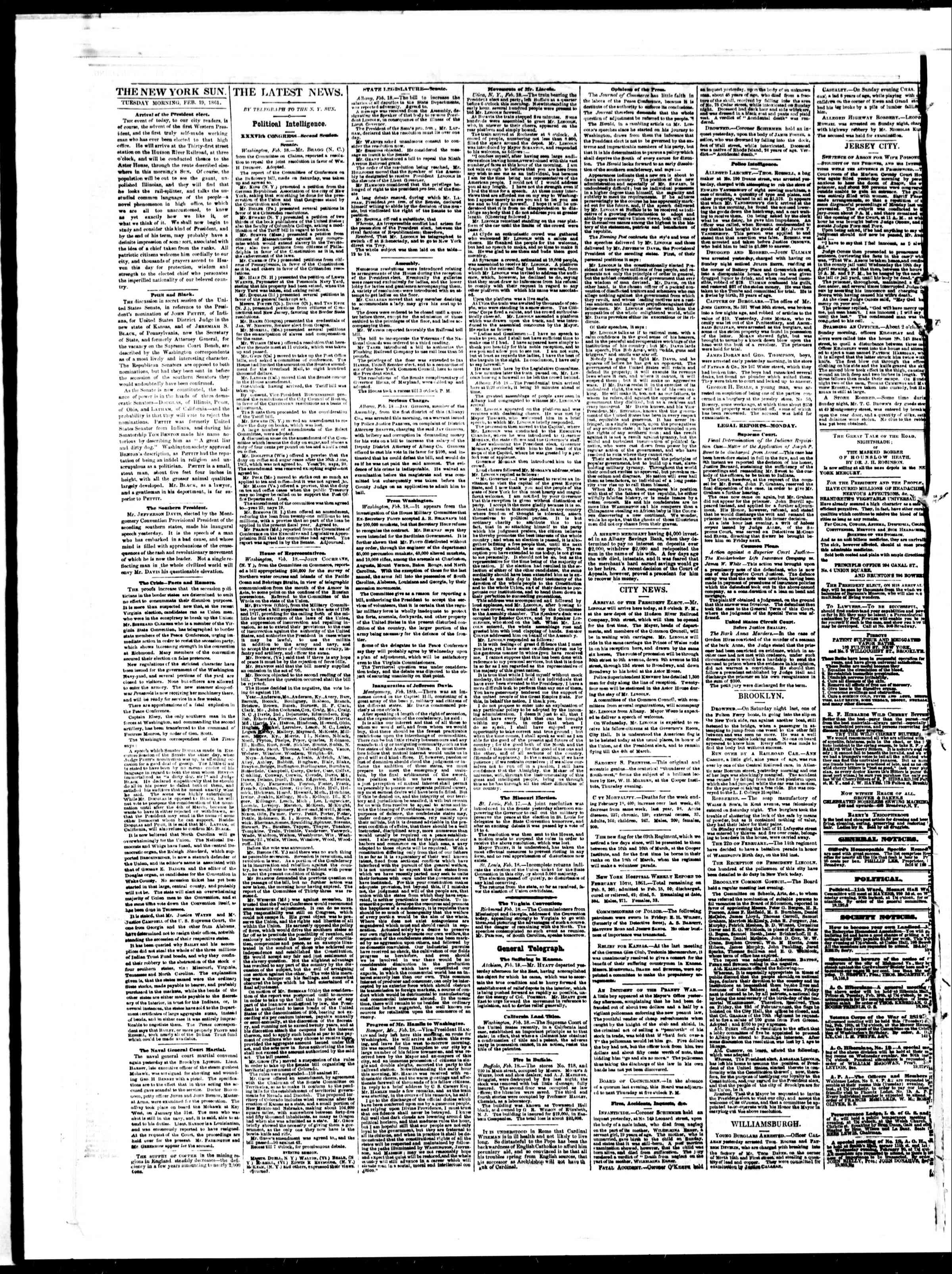 Newspaper of The Sun dated February 19, 1861 Page 2