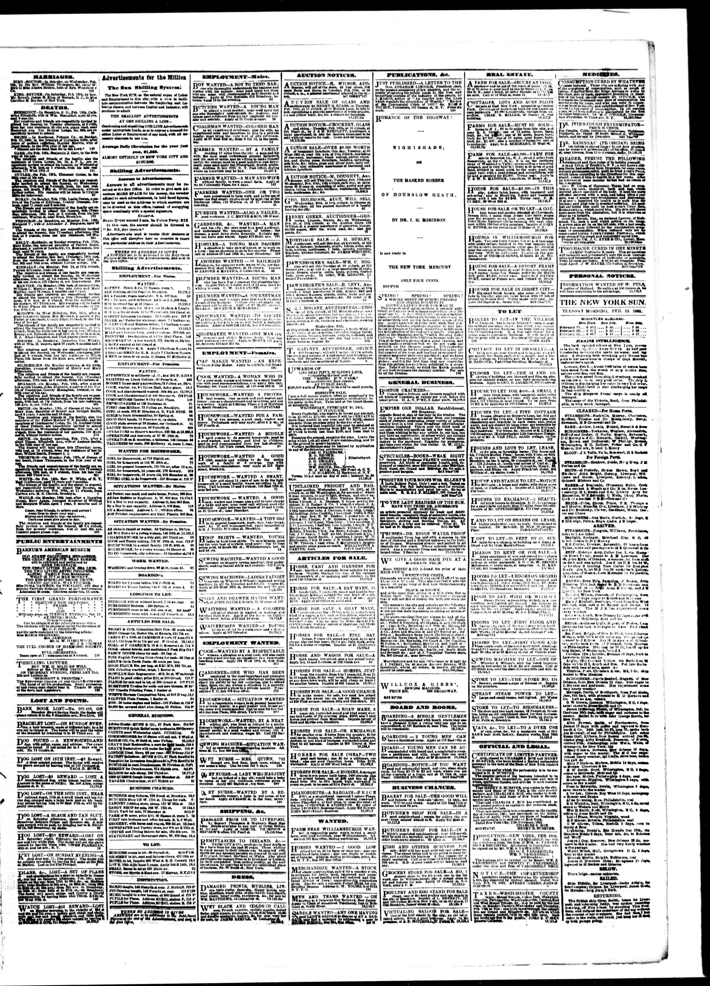 Newspaper of The Sun dated February 19, 1861 Page 3