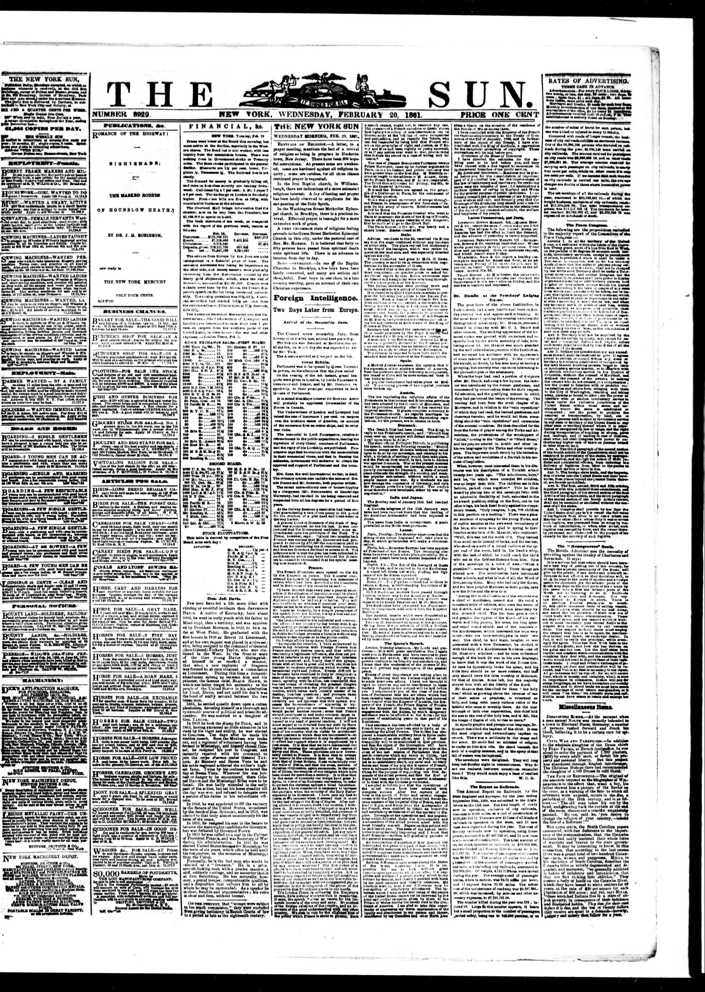 Newspaper of The Sun dated February 20, 1861 Page 1