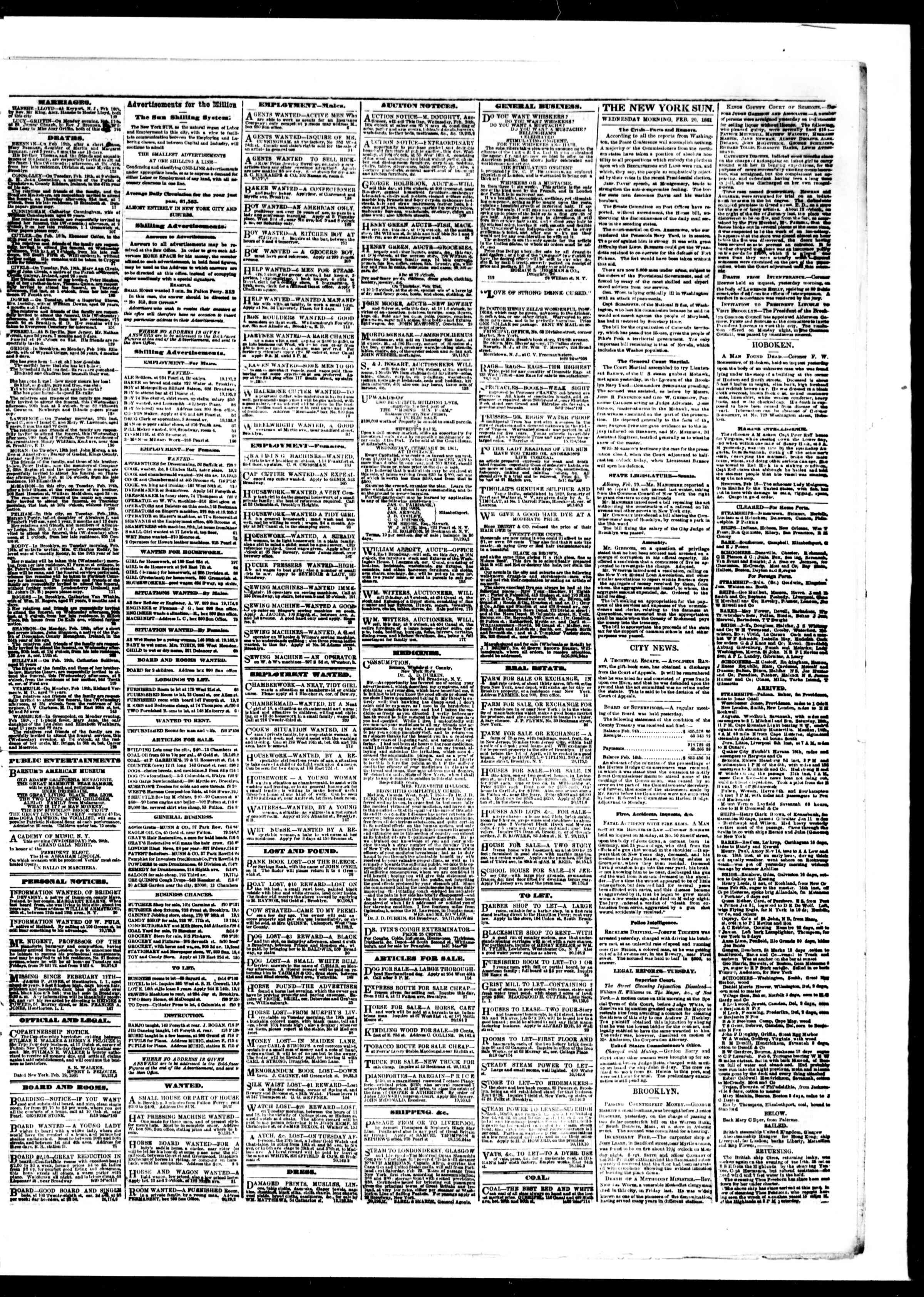 Newspaper of The Sun dated February 20, 1861 Page 3