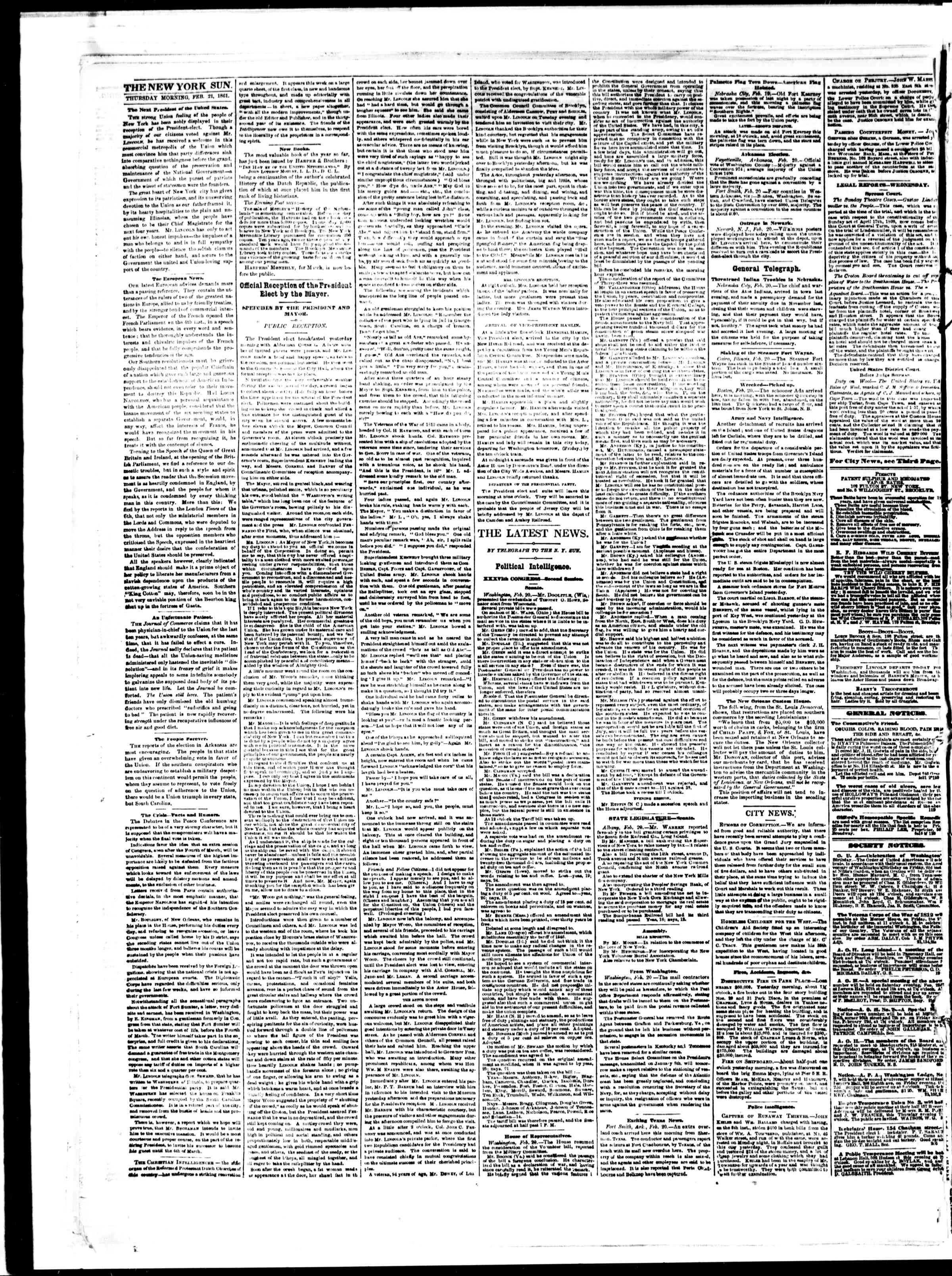 Newspaper of The Sun dated February 21, 1861 Page 2