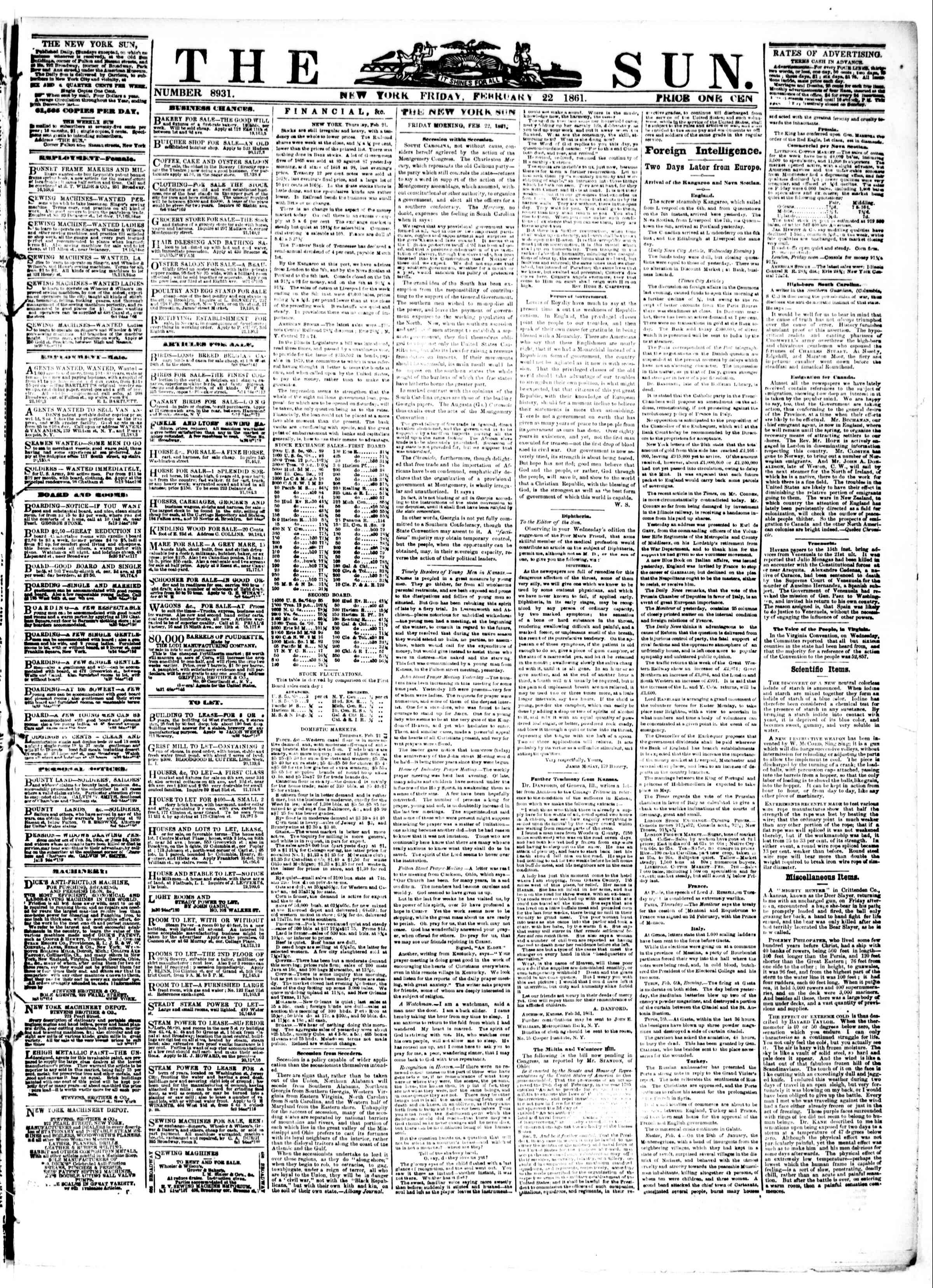 Newspaper of The Sun dated February 22, 1861 Page 1