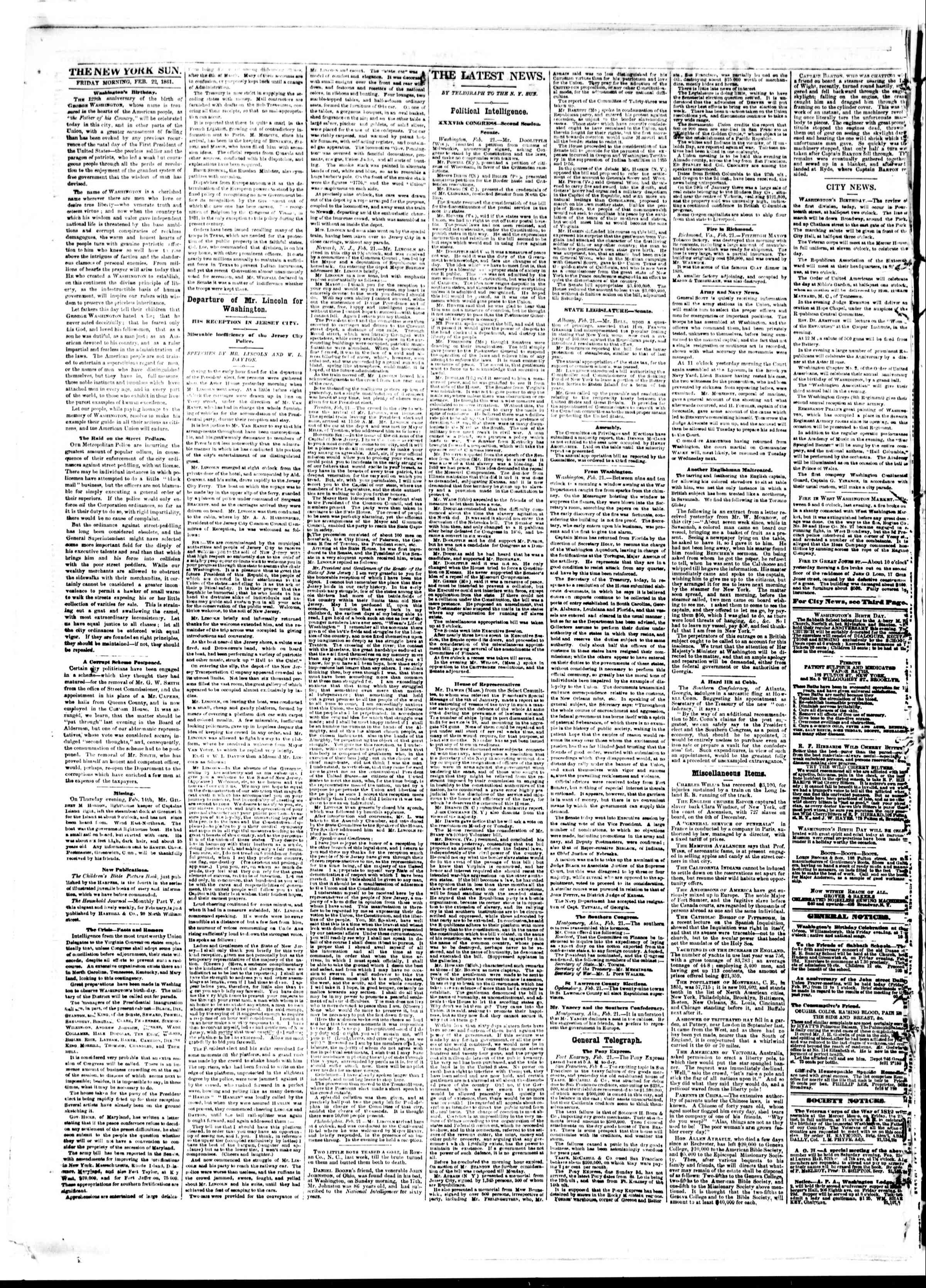 Newspaper of The Sun dated February 22, 1861 Page 2