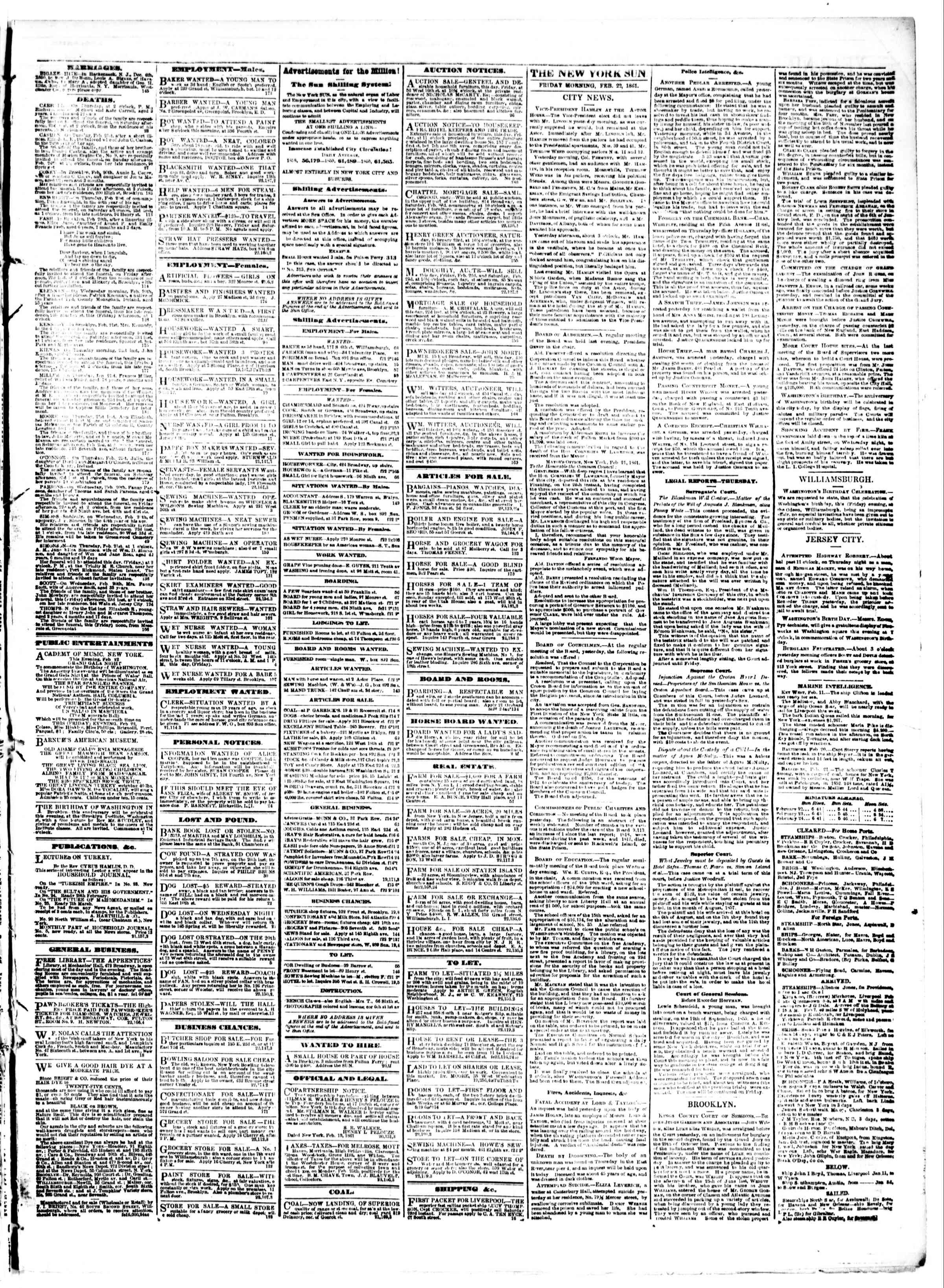 Newspaper of The Sun dated February 22, 1861 Page 3