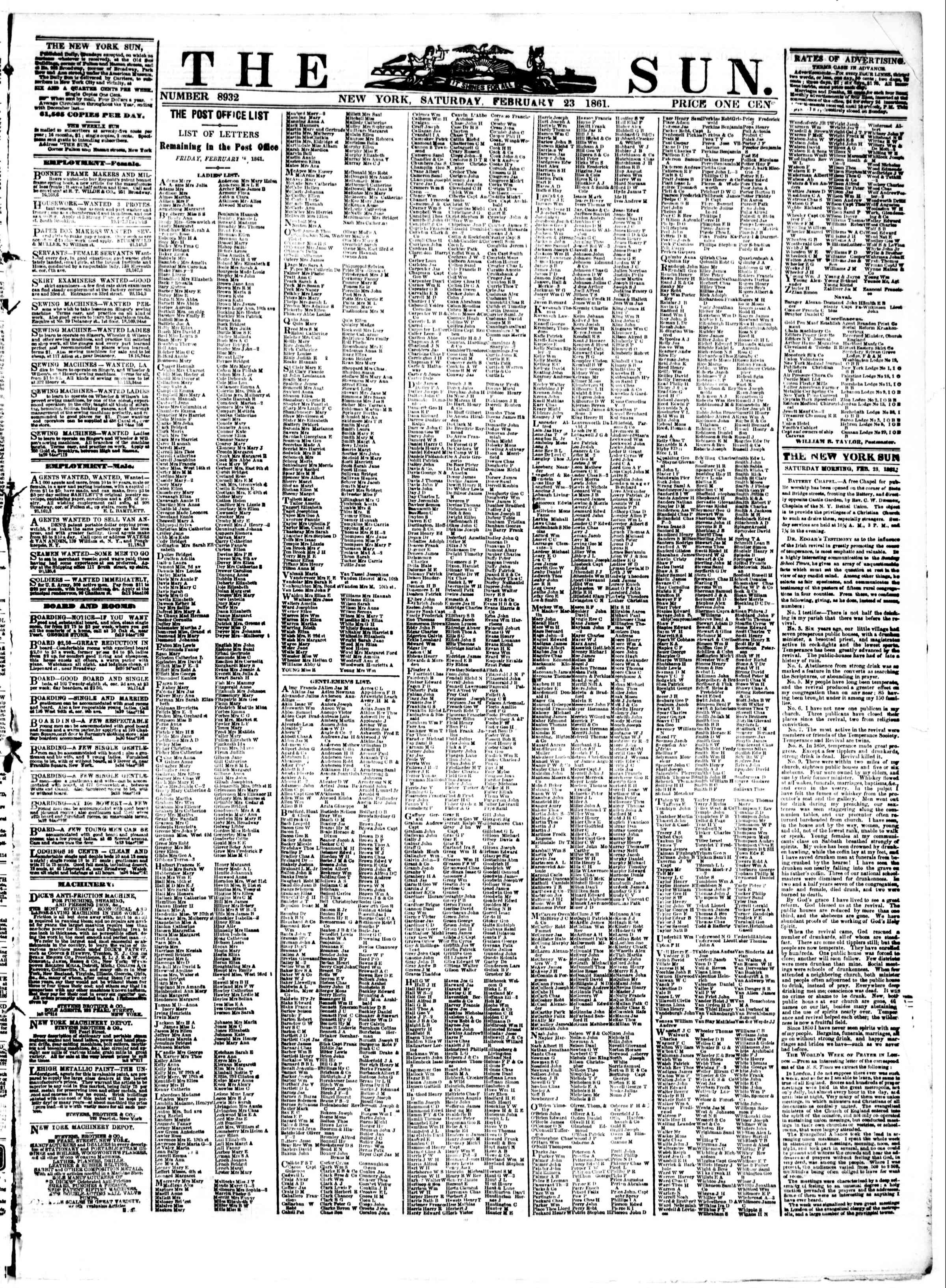 Newspaper of The Sun dated February 23, 1861 Page 1