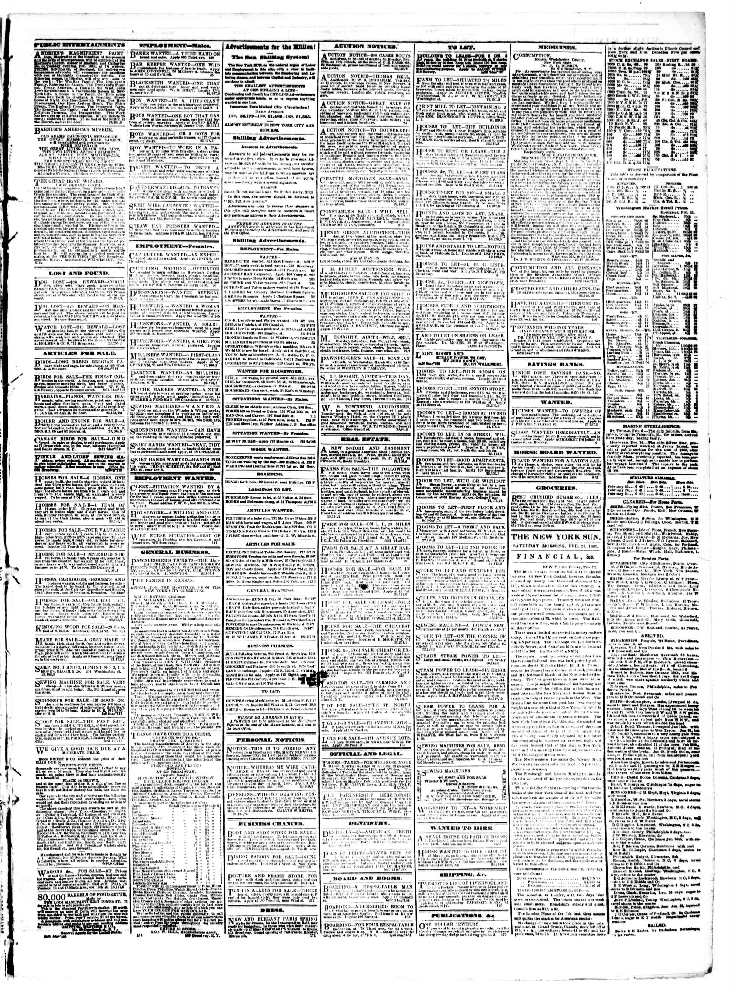 Newspaper of The Sun dated February 23, 1861 Page 3