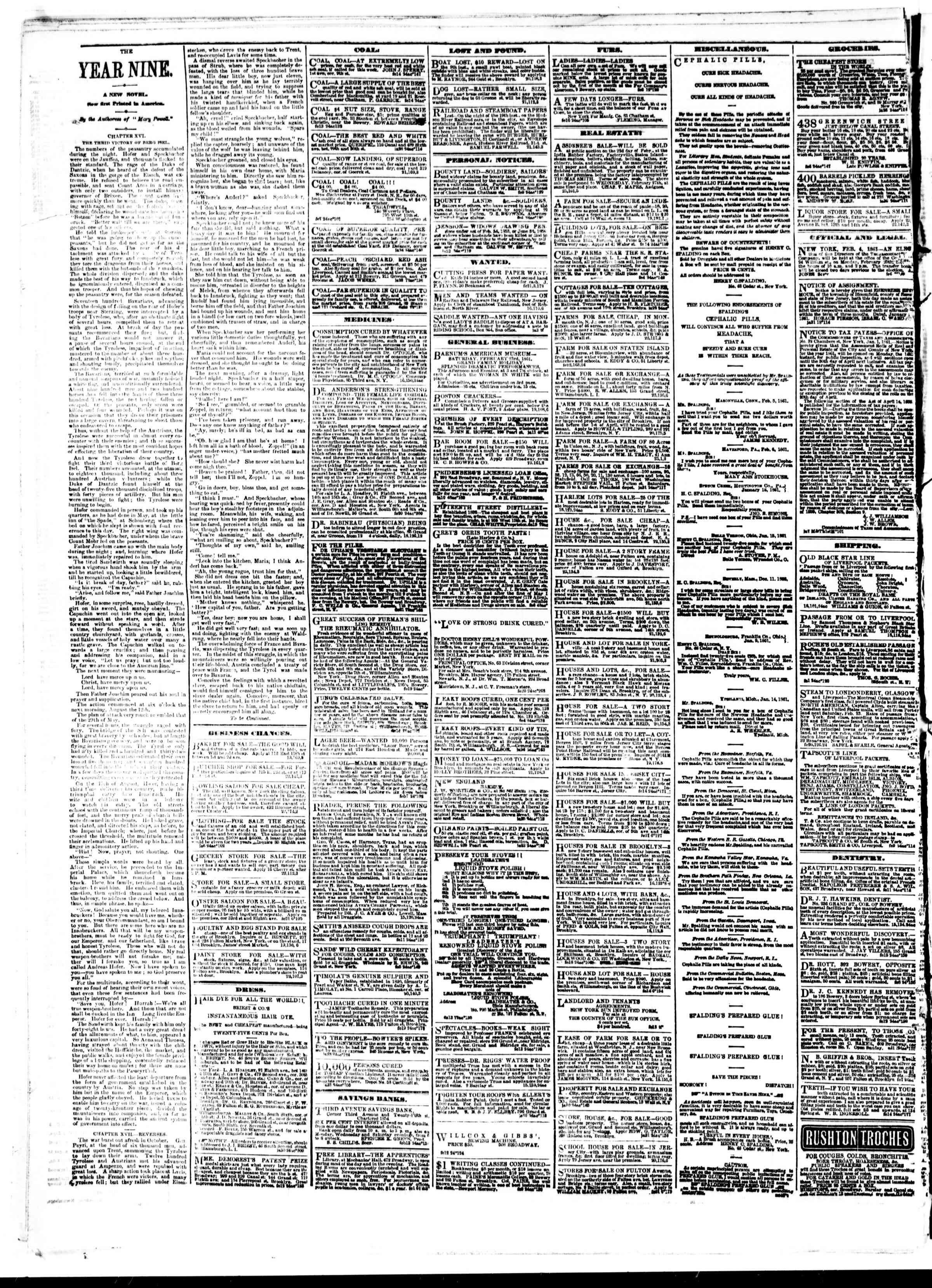 Newspaper of The Sun dated February 23, 1861 Page 4