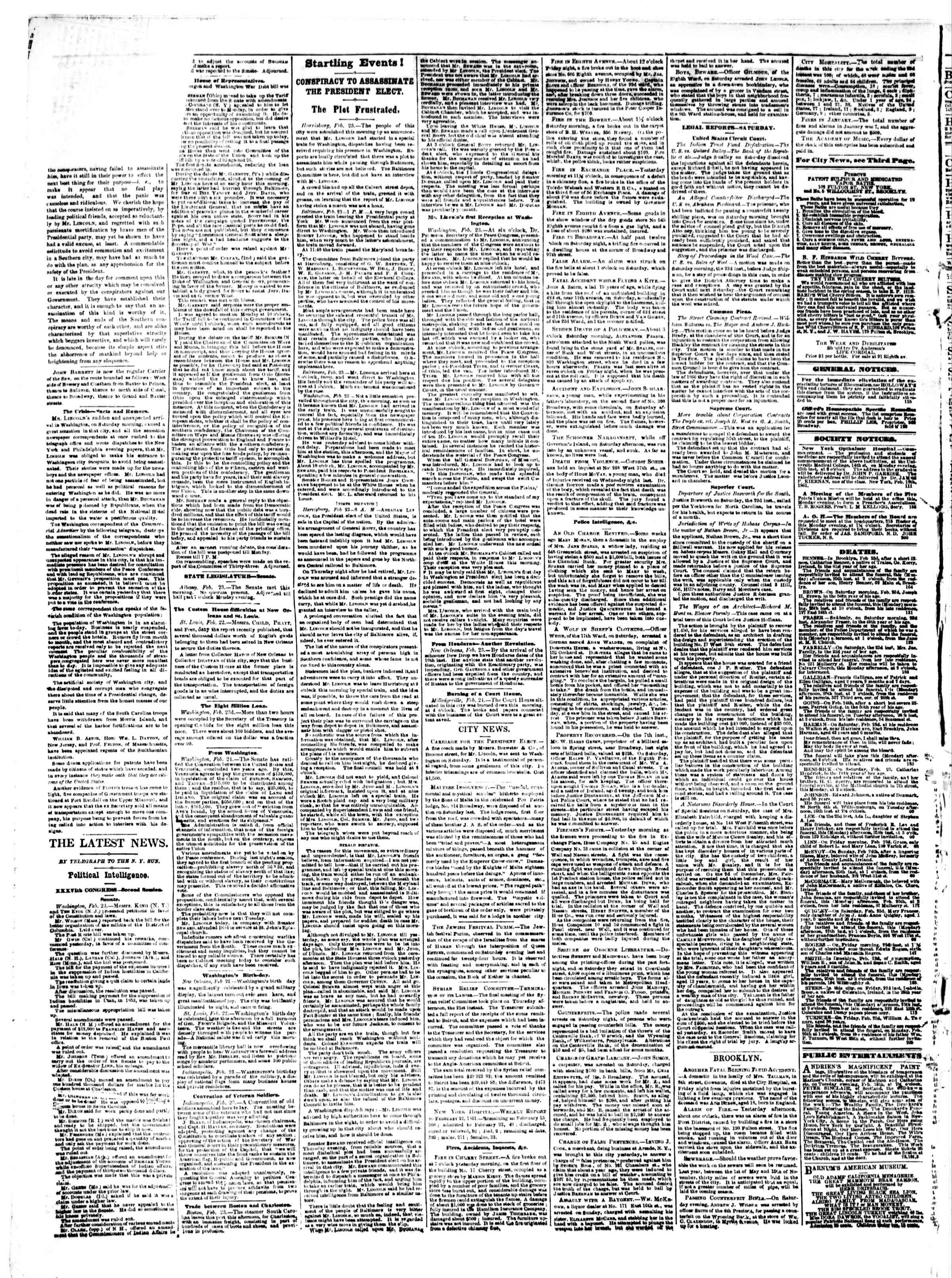 Newspaper of The Sun dated 25 Şubat 1861 Page 2