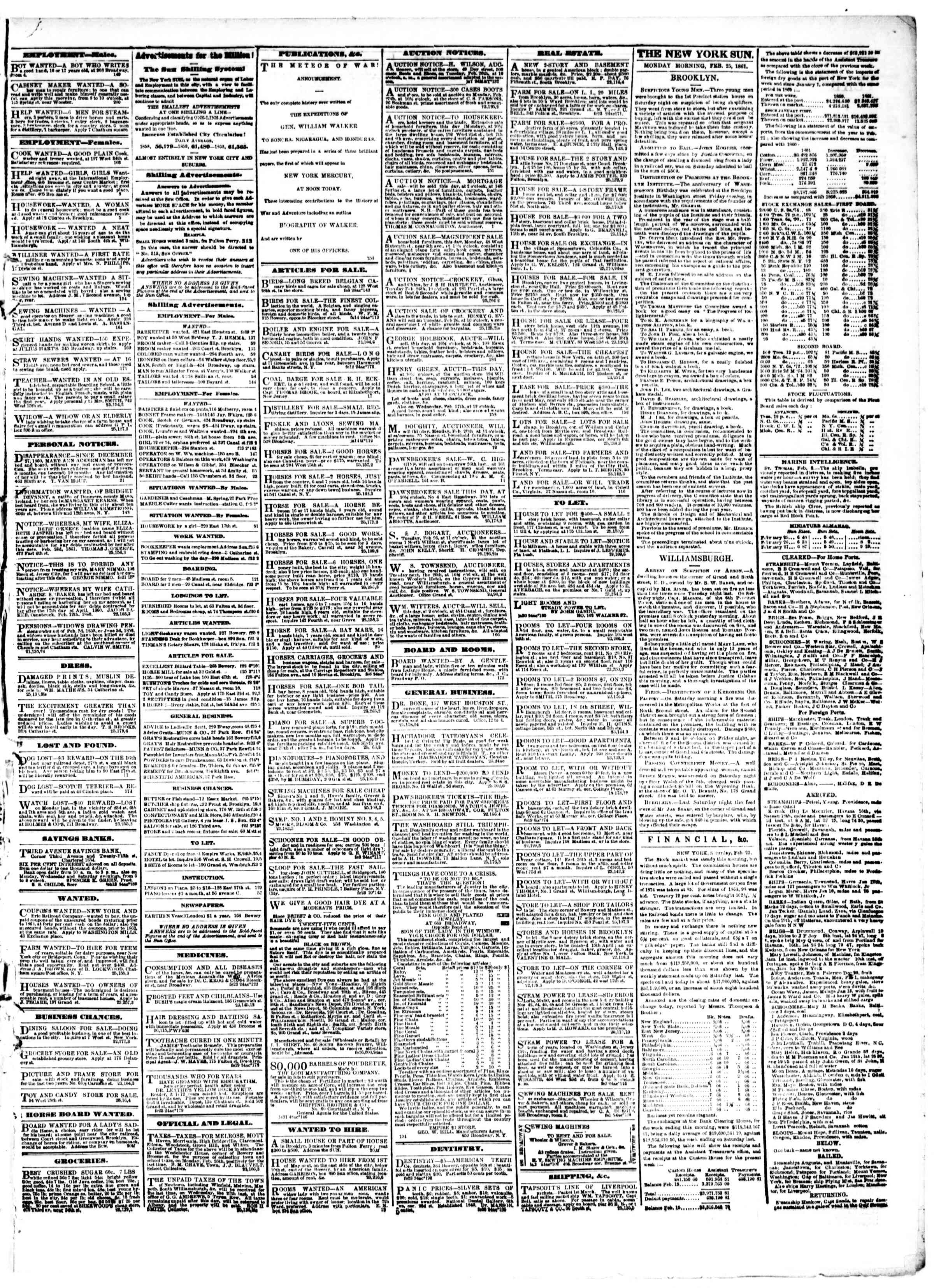 Newspaper of The Sun dated February 25, 1861 Page 3