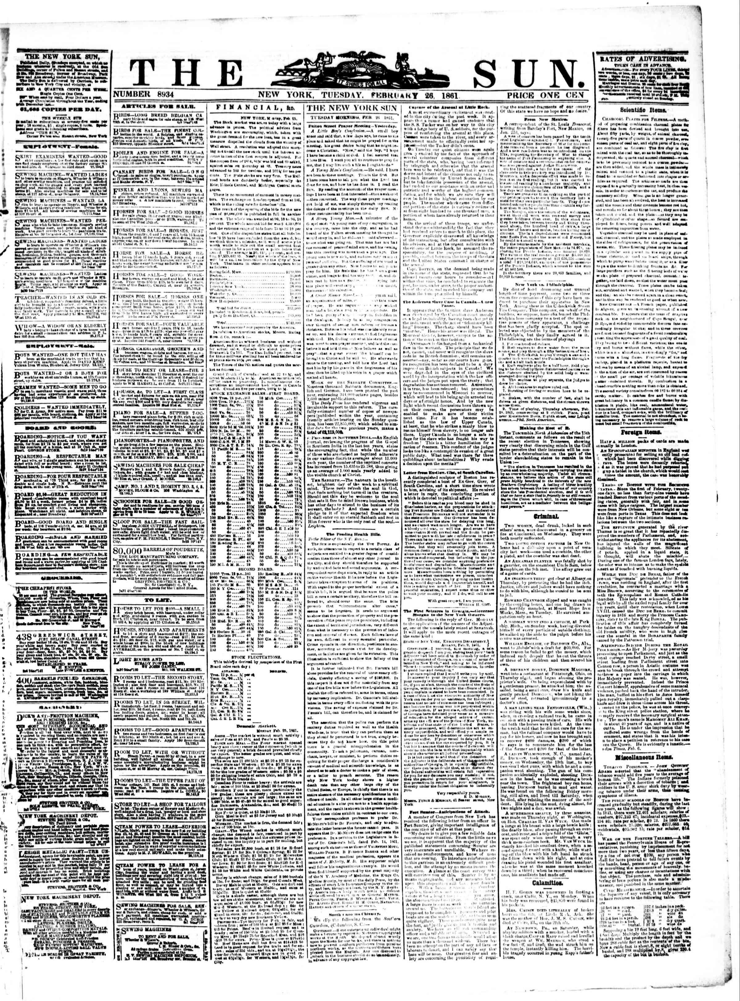 Newspaper of The Sun dated February 26, 1861 Page 1