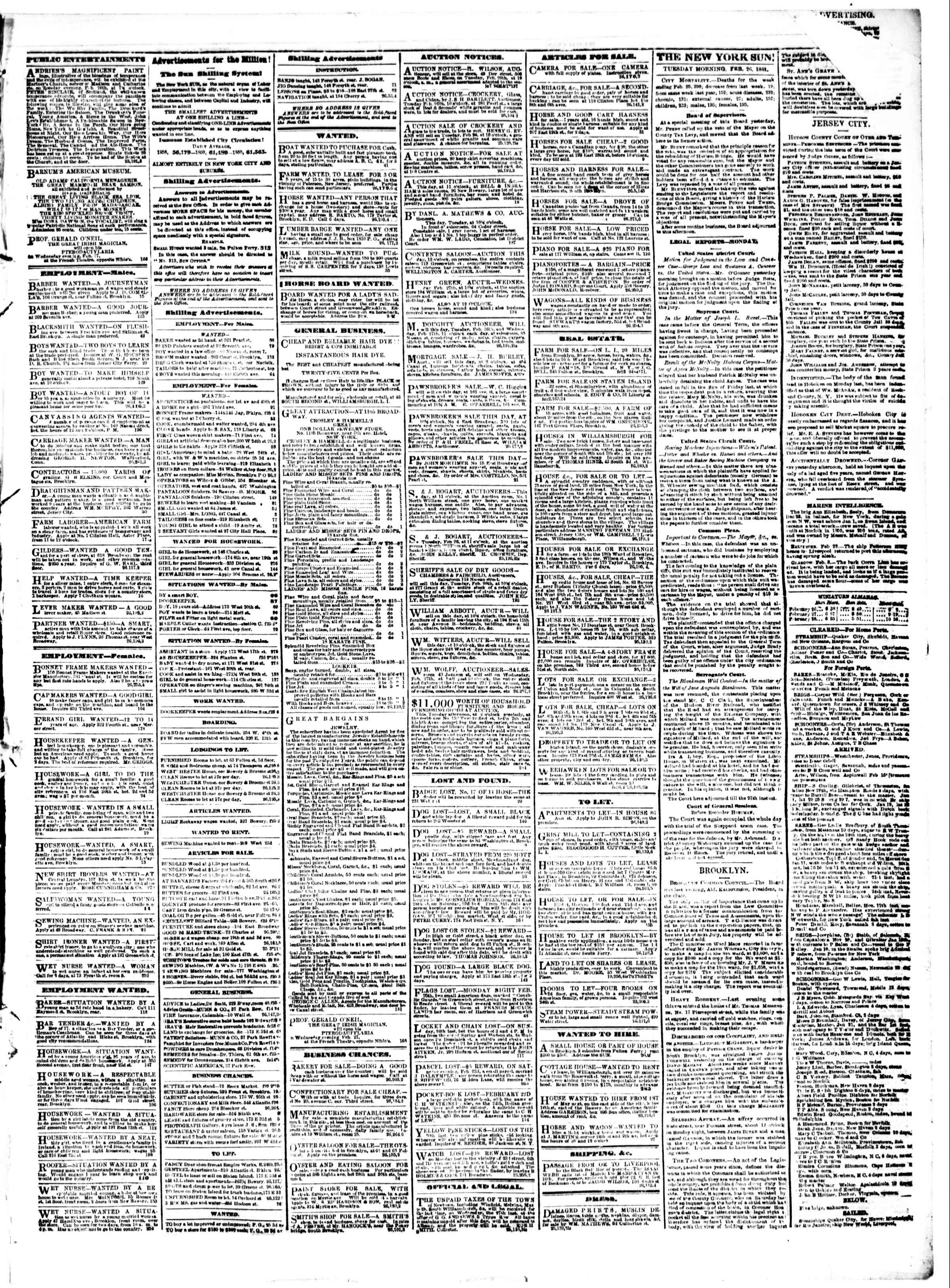 Newspaper of The Sun dated February 26, 1861 Page 3