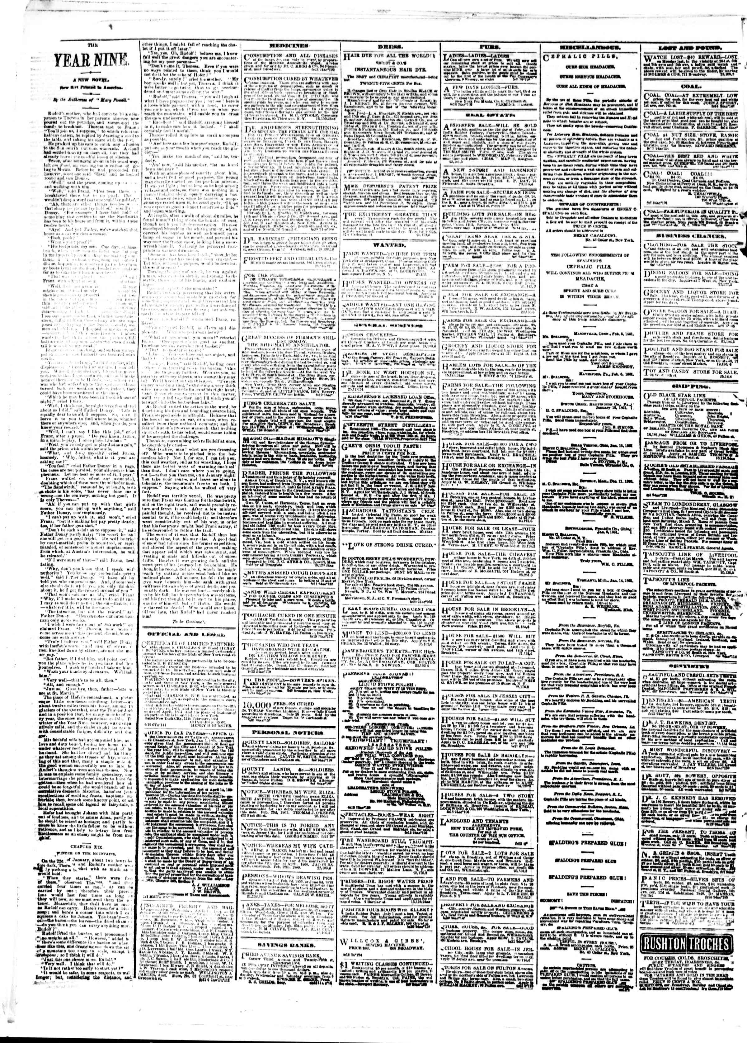 Newspaper of The Sun dated February 26, 1861 Page 4