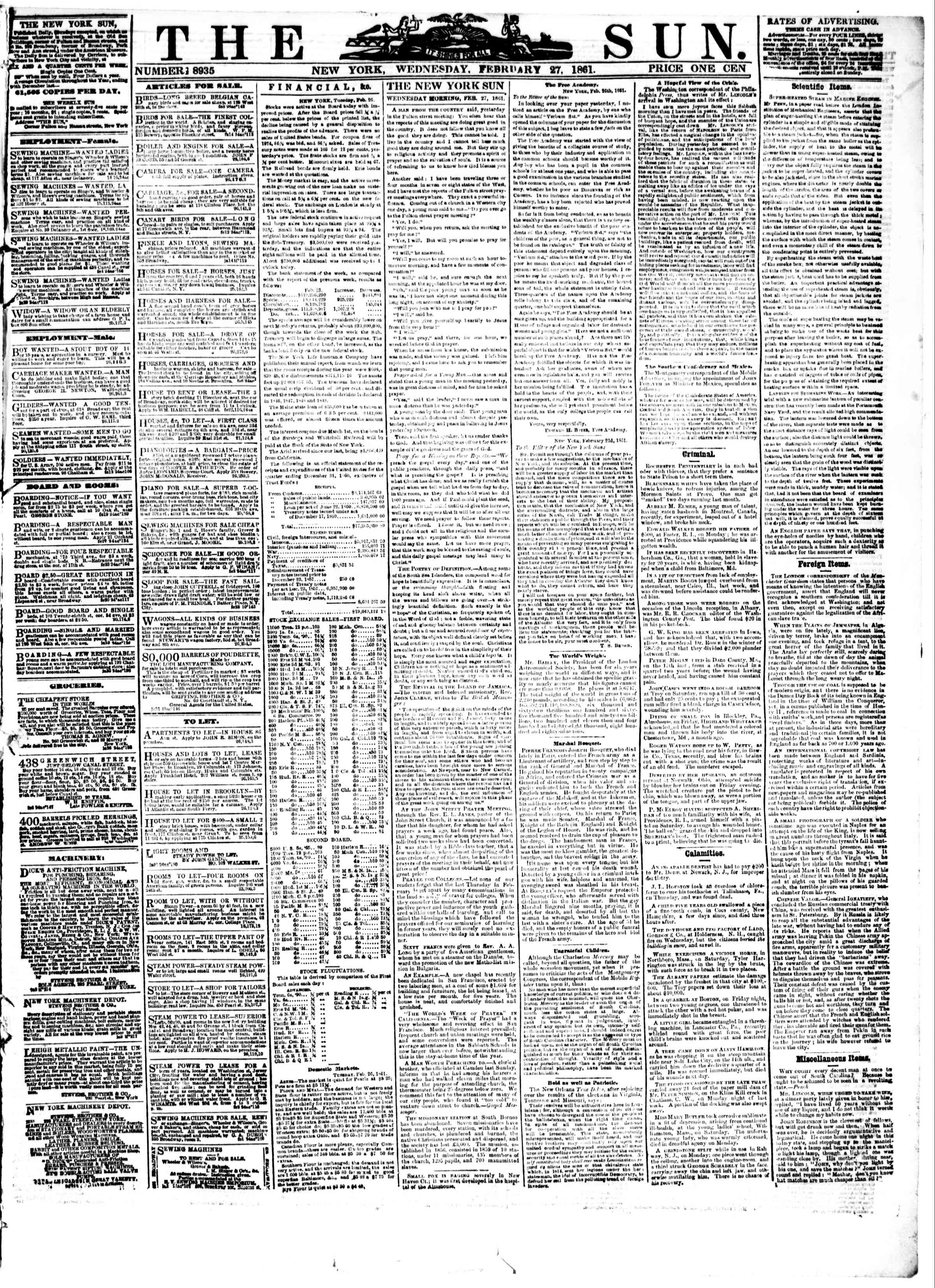 Newspaper of The Sun dated February 27, 1861 Page 1