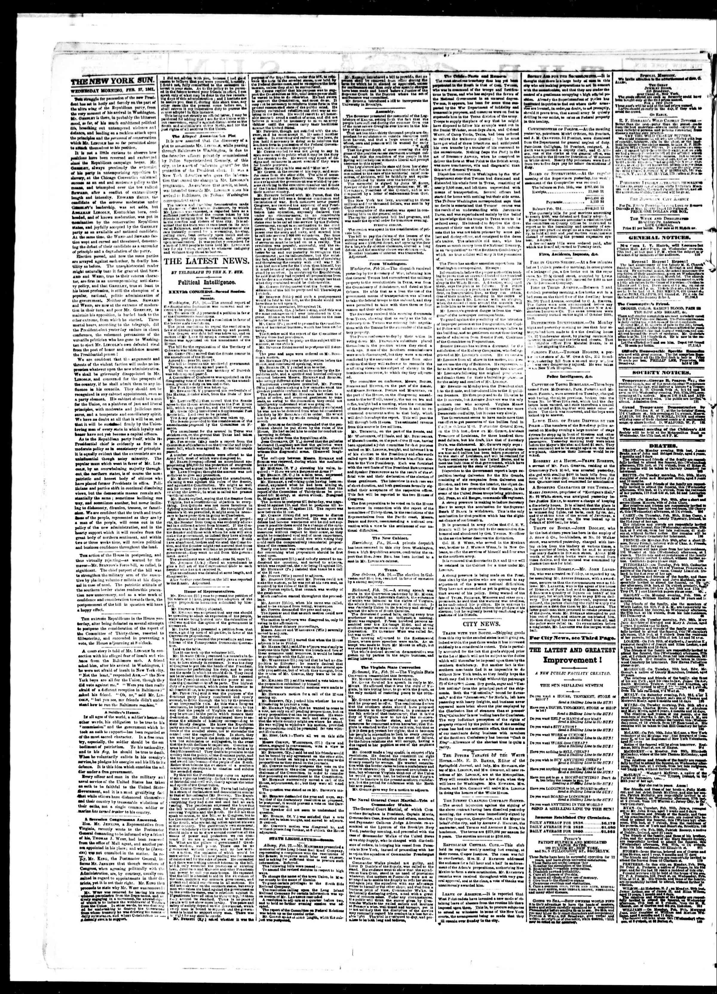 Newspaper of The Sun dated February 27, 1861 Page 2