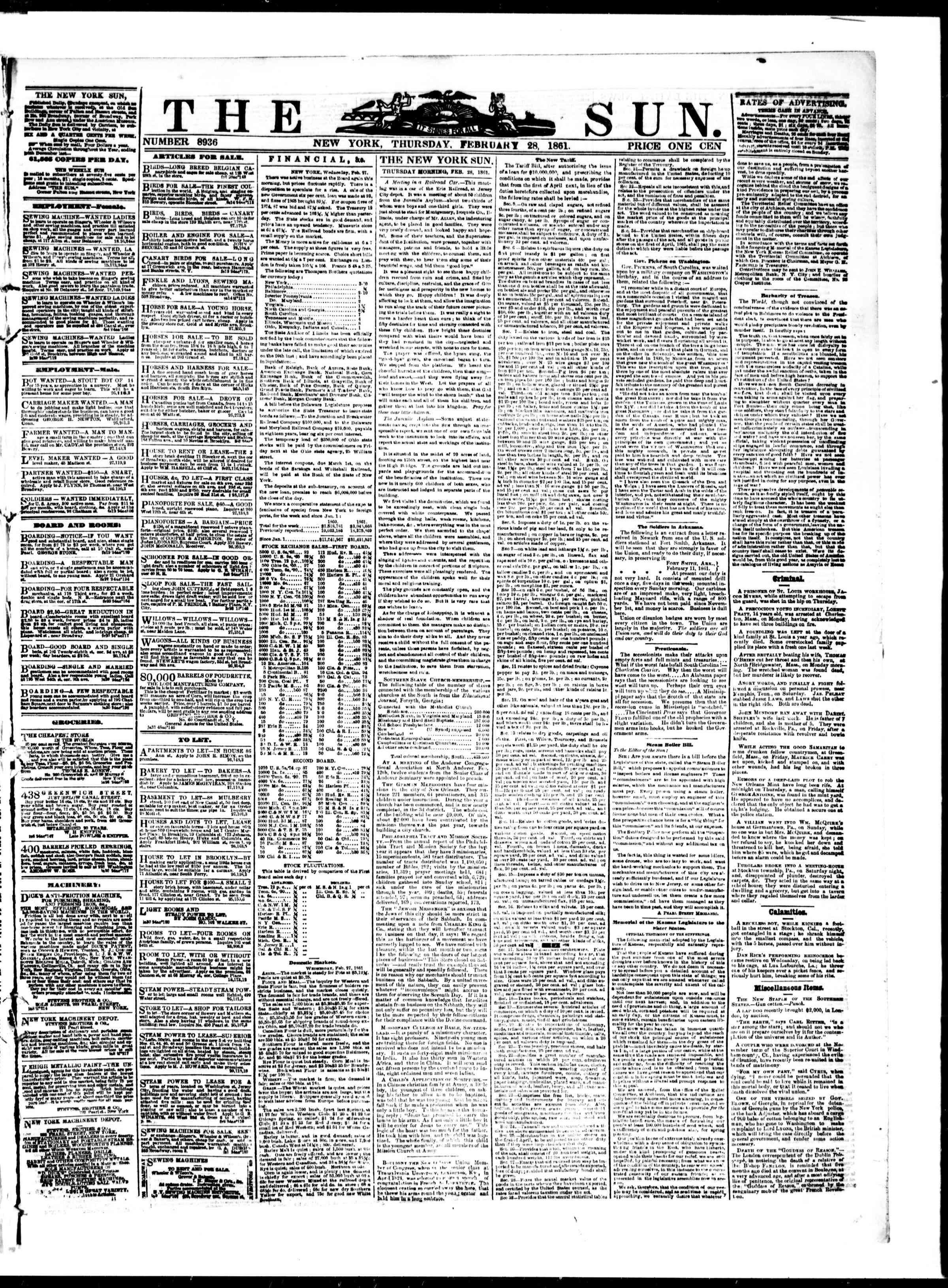 Newspaper of The Sun dated February 28, 1861 Page 1