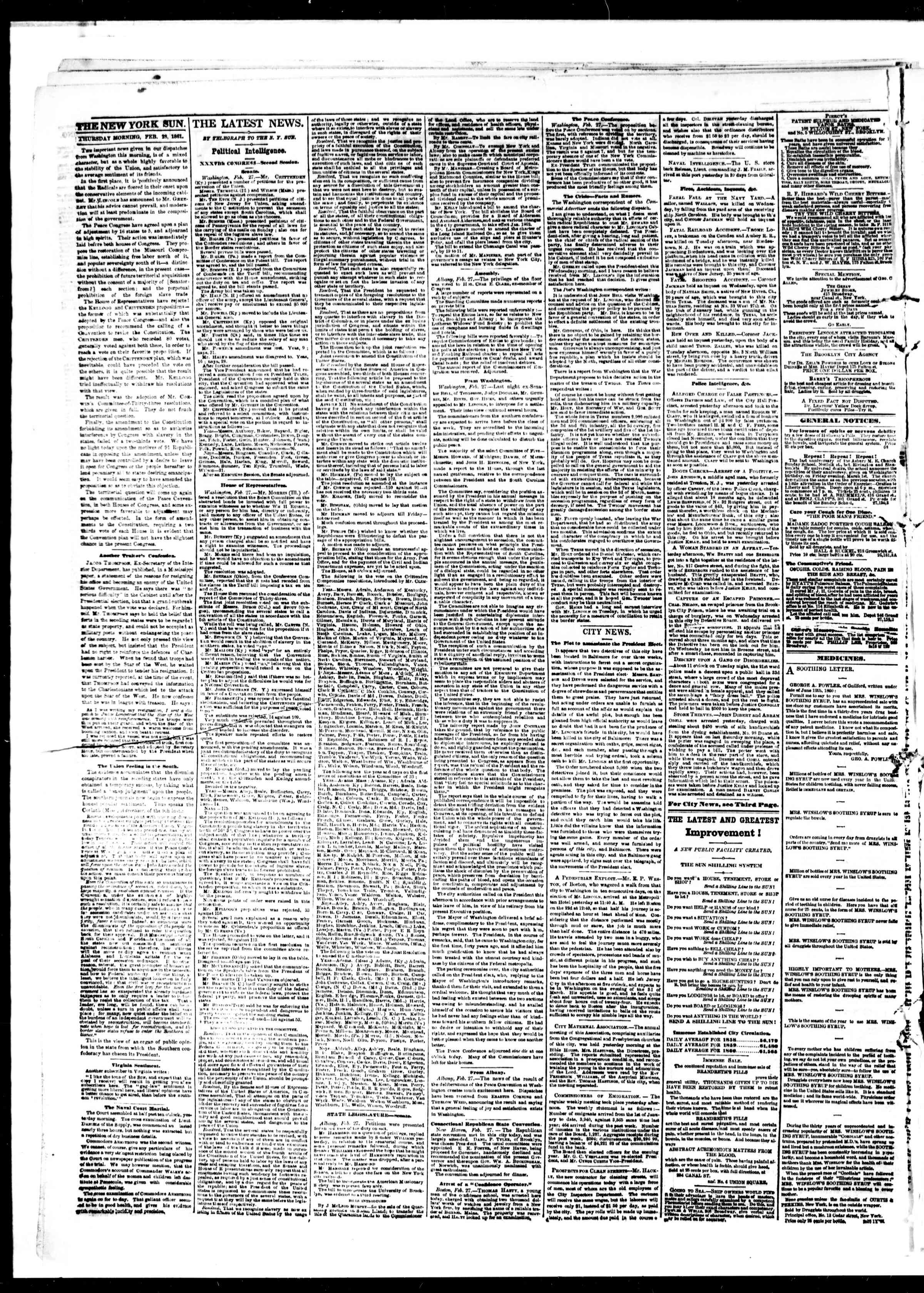 Newspaper of The Sun dated February 28, 1861 Page 2