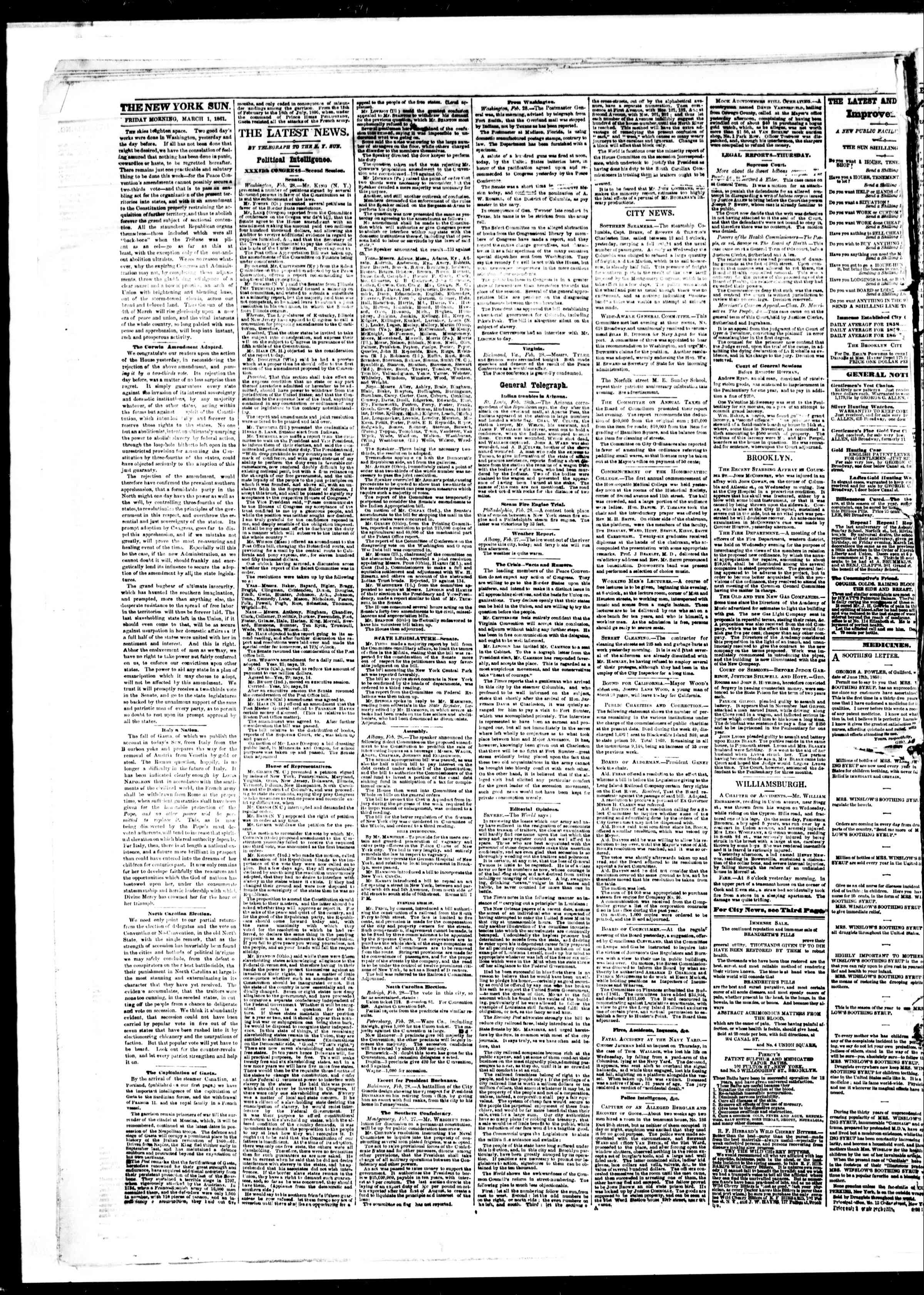 Newspaper of The Sun dated March 1, 1861 Page 2