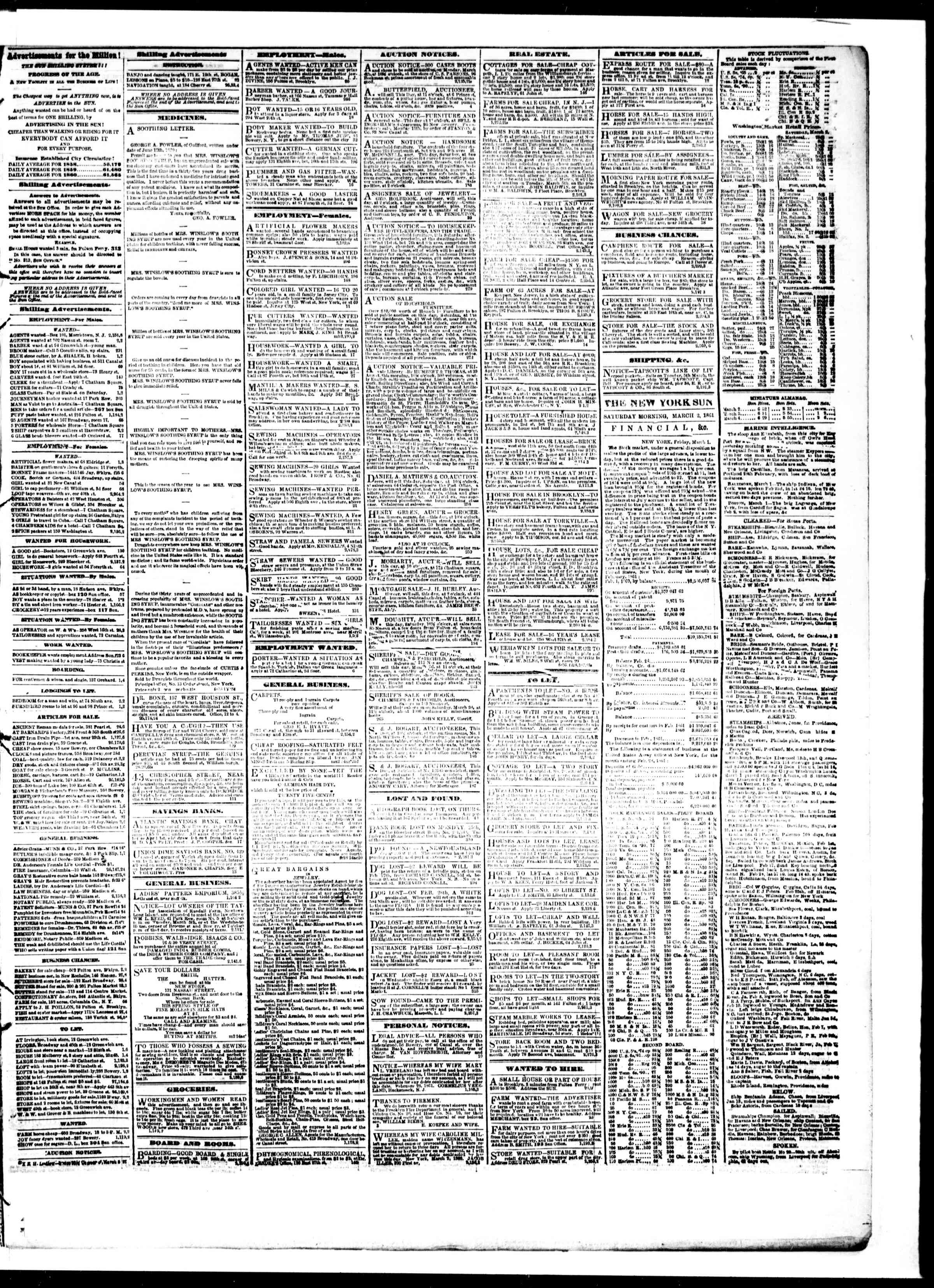 Newspaper of The Sun dated March 2, 1861 Page 3