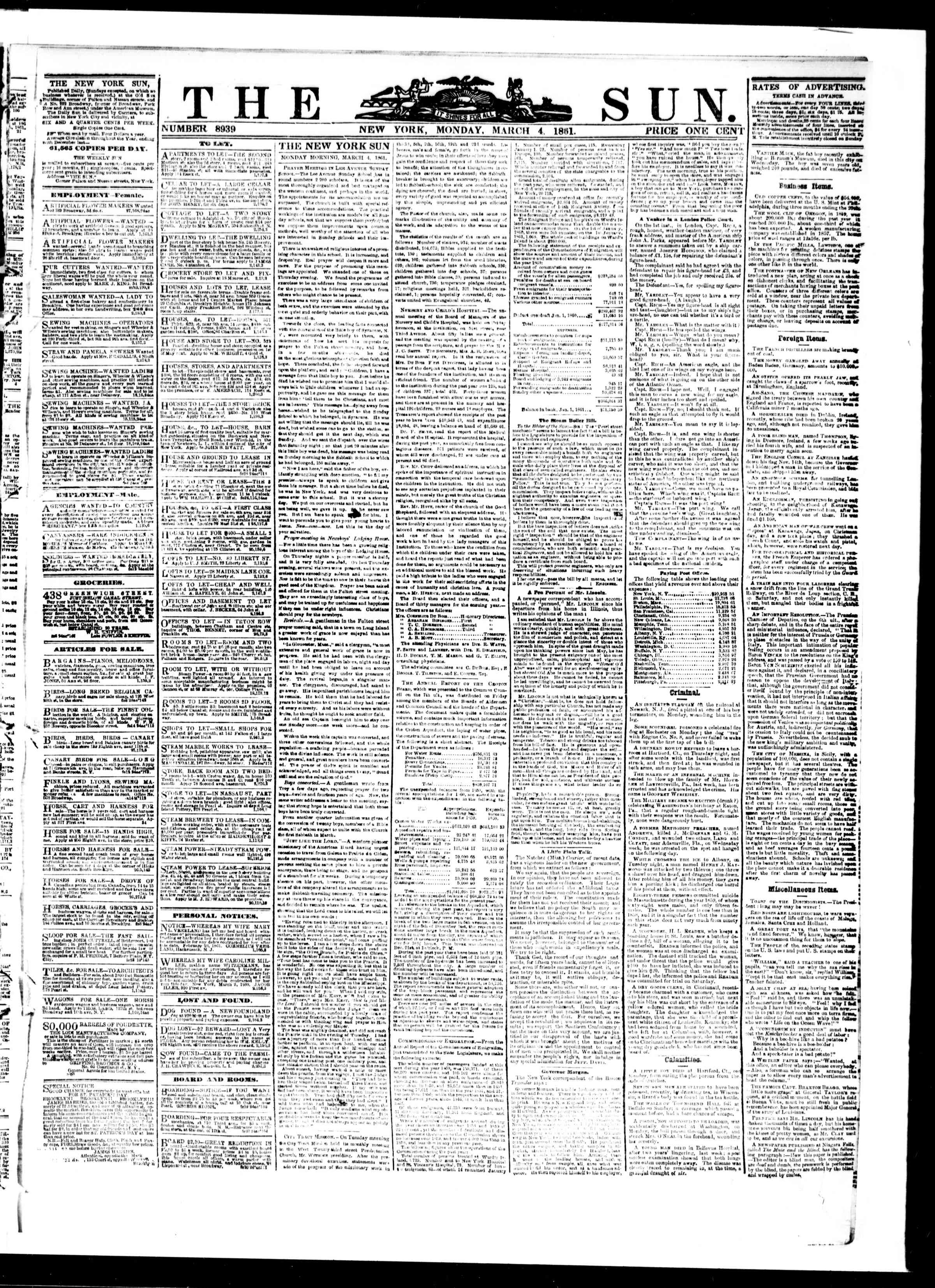 Newspaper of The Sun dated March 4, 1861 Page 1