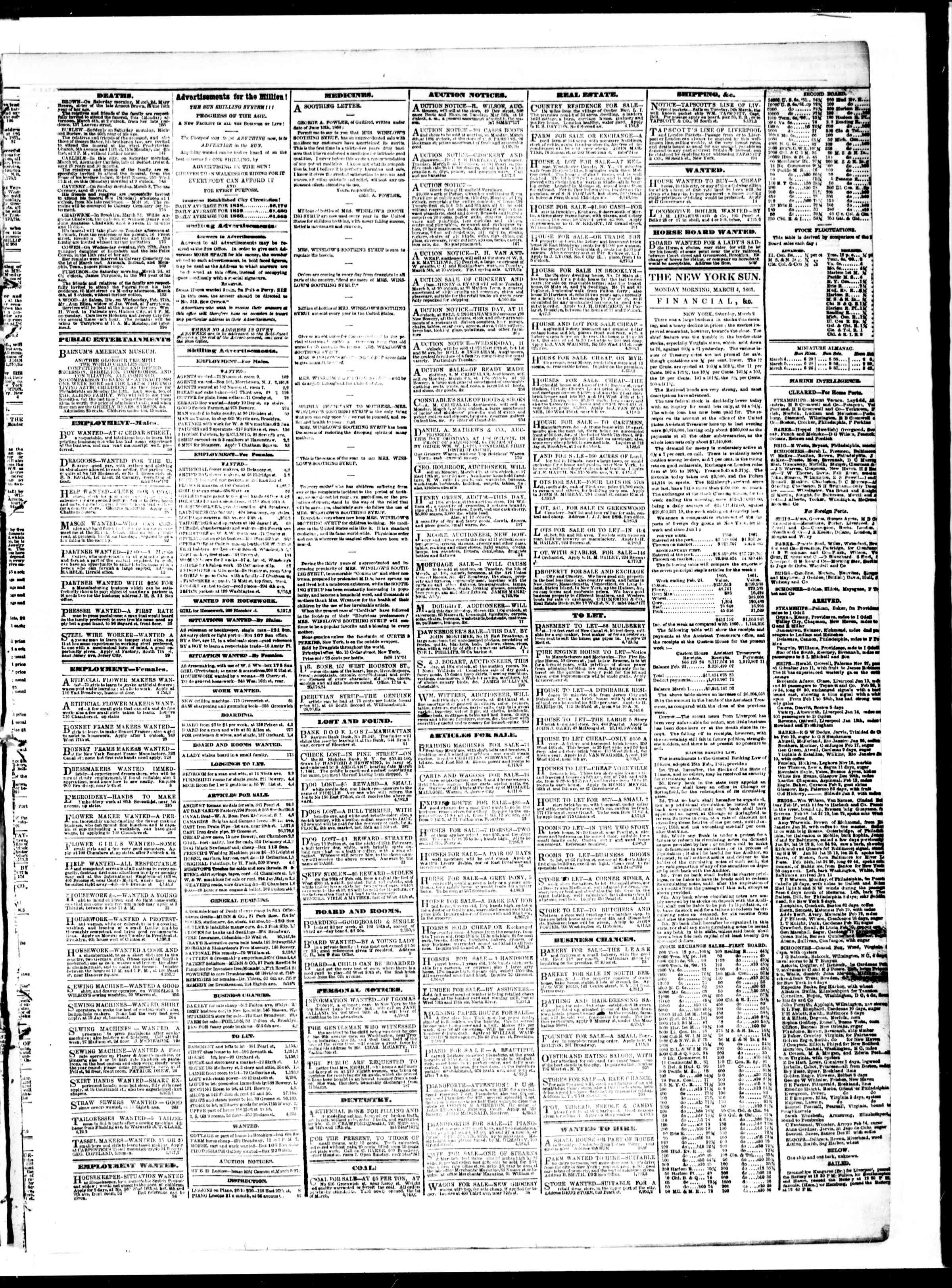 Newspaper of The Sun dated March 4, 1861 Page 3