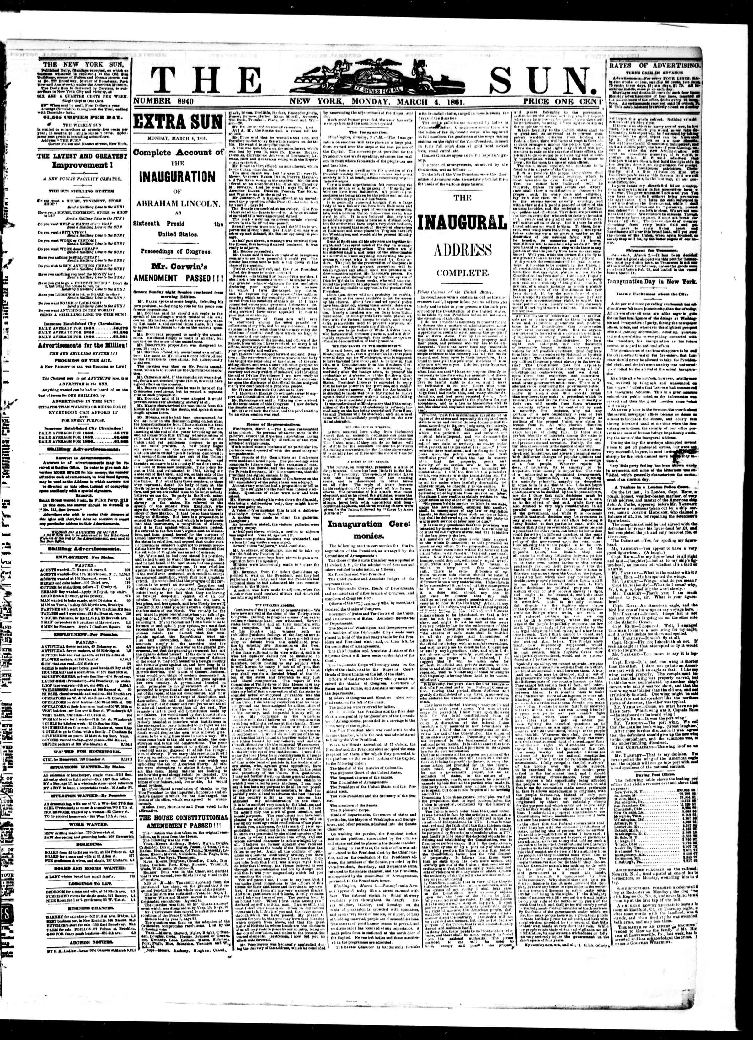 Newspaper of The Sun dated March 5, 1861 Page 1