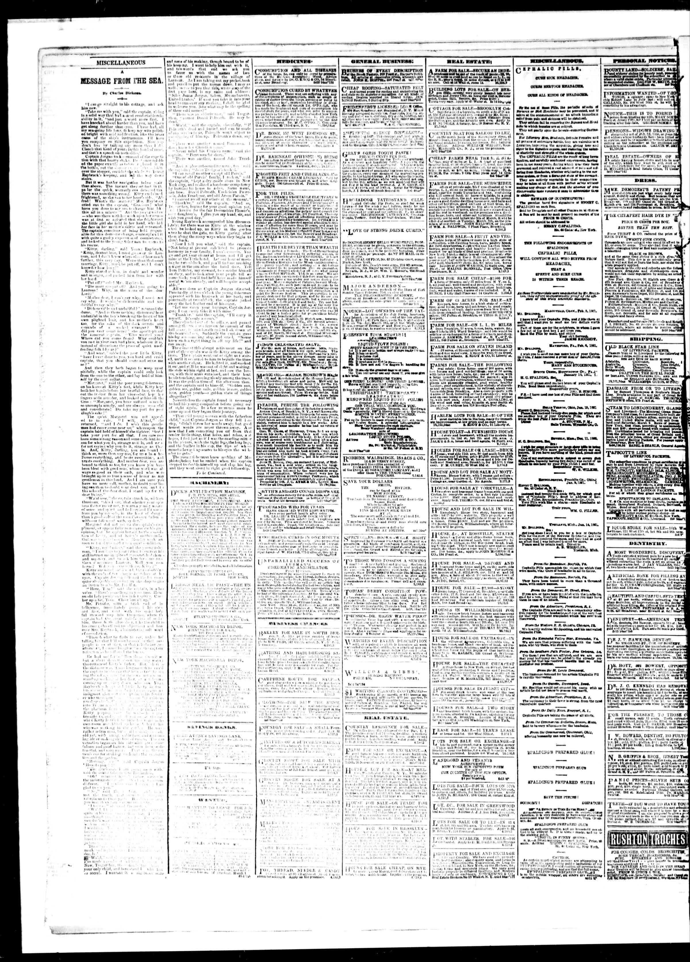 Newspaper of The Sun dated March 5, 1861 Page 2