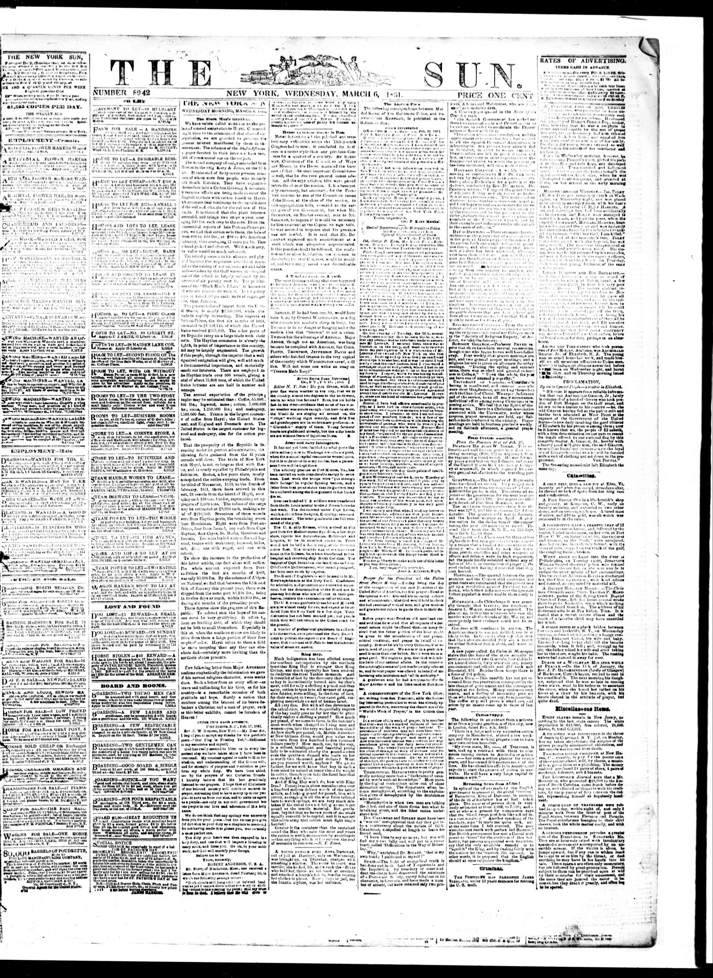 Newspaper of The Sun dated March 6, 1861 Page 1