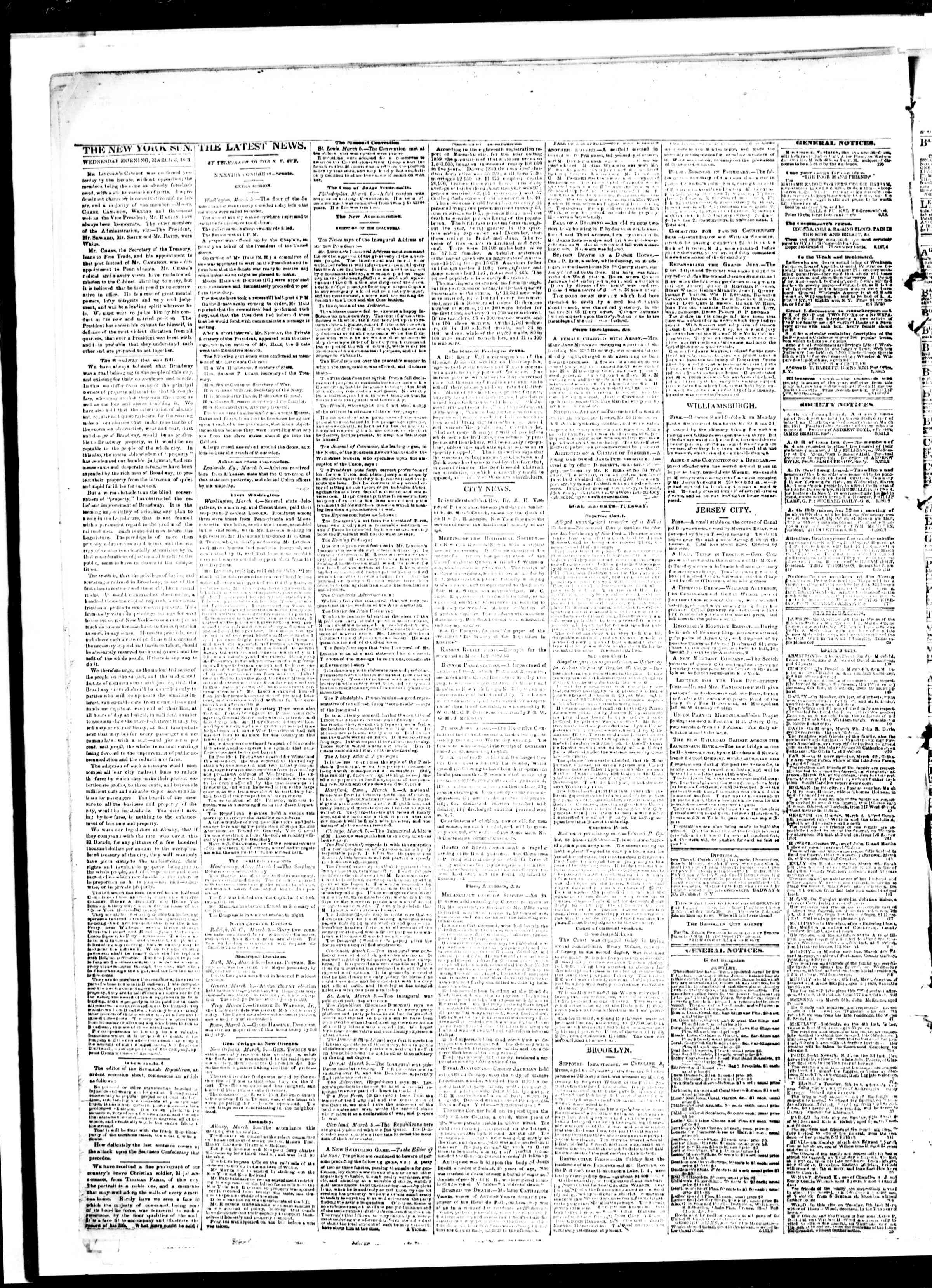 Newspaper of The Sun dated March 6, 1861 Page 2