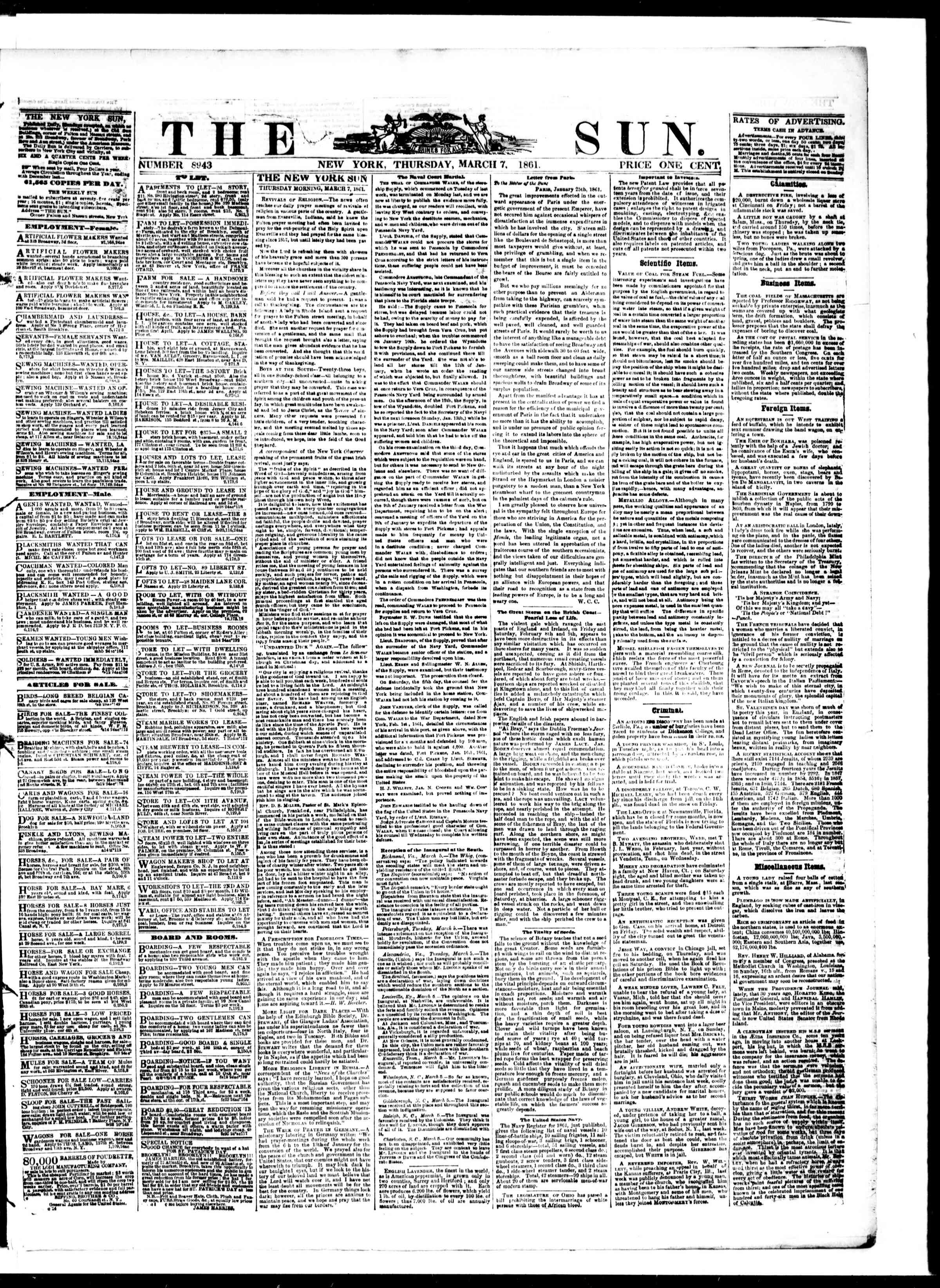 Newspaper of The Sun dated 7 Mart 1861 Page 1