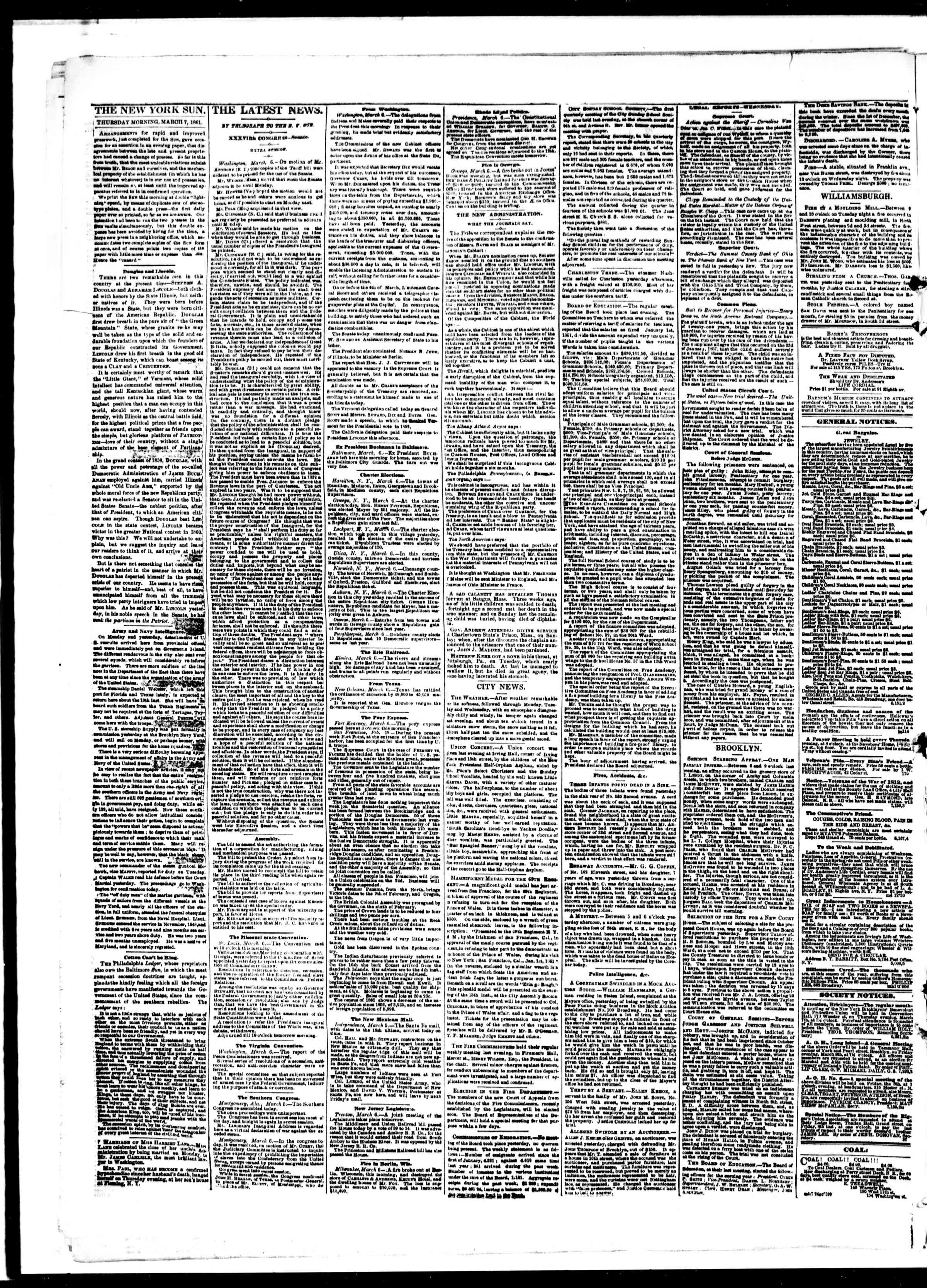Newspaper of The Sun dated March 7, 1861 Page 2