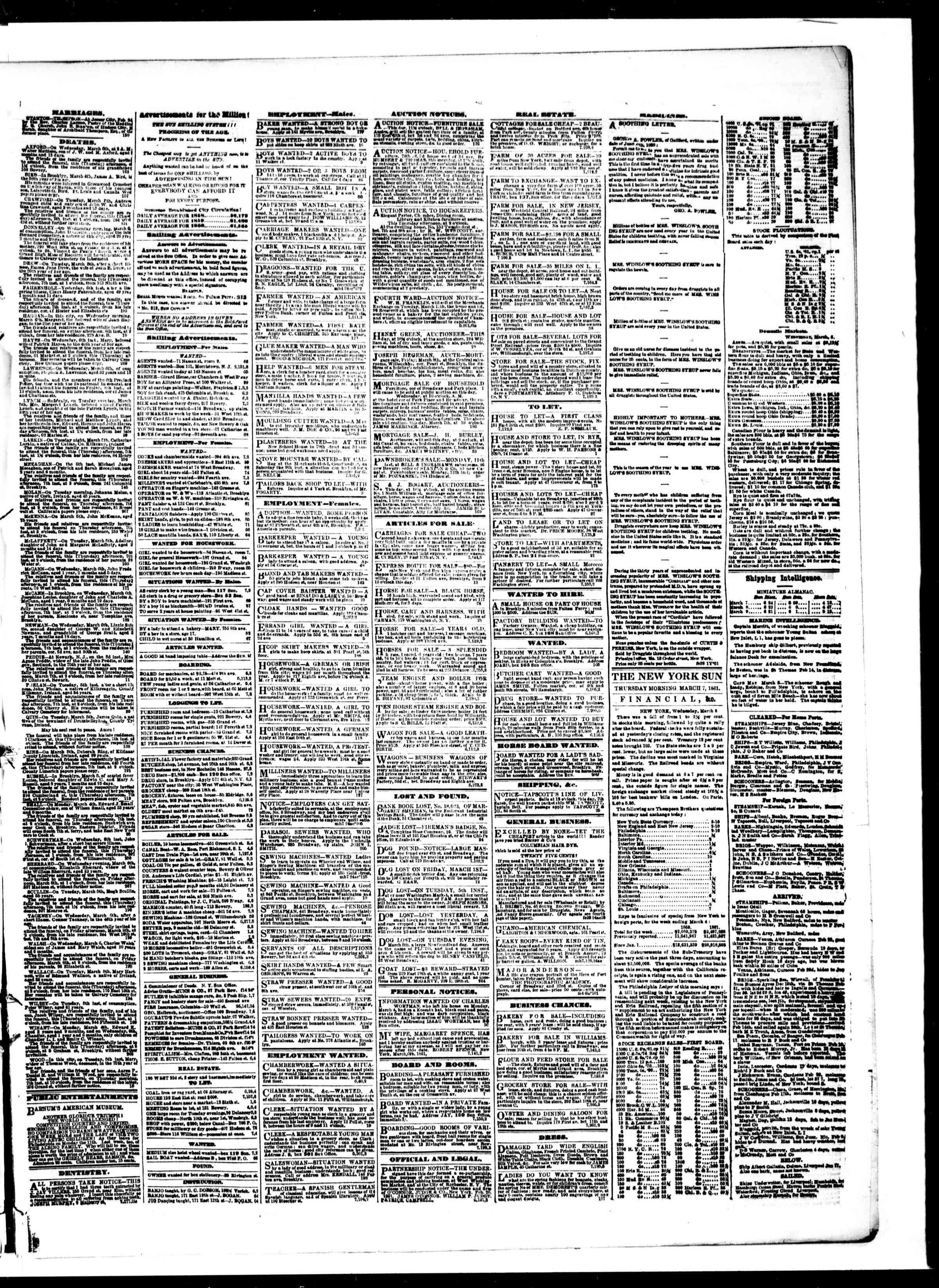 Newspaper of The Sun dated March 7, 1861 Page 3