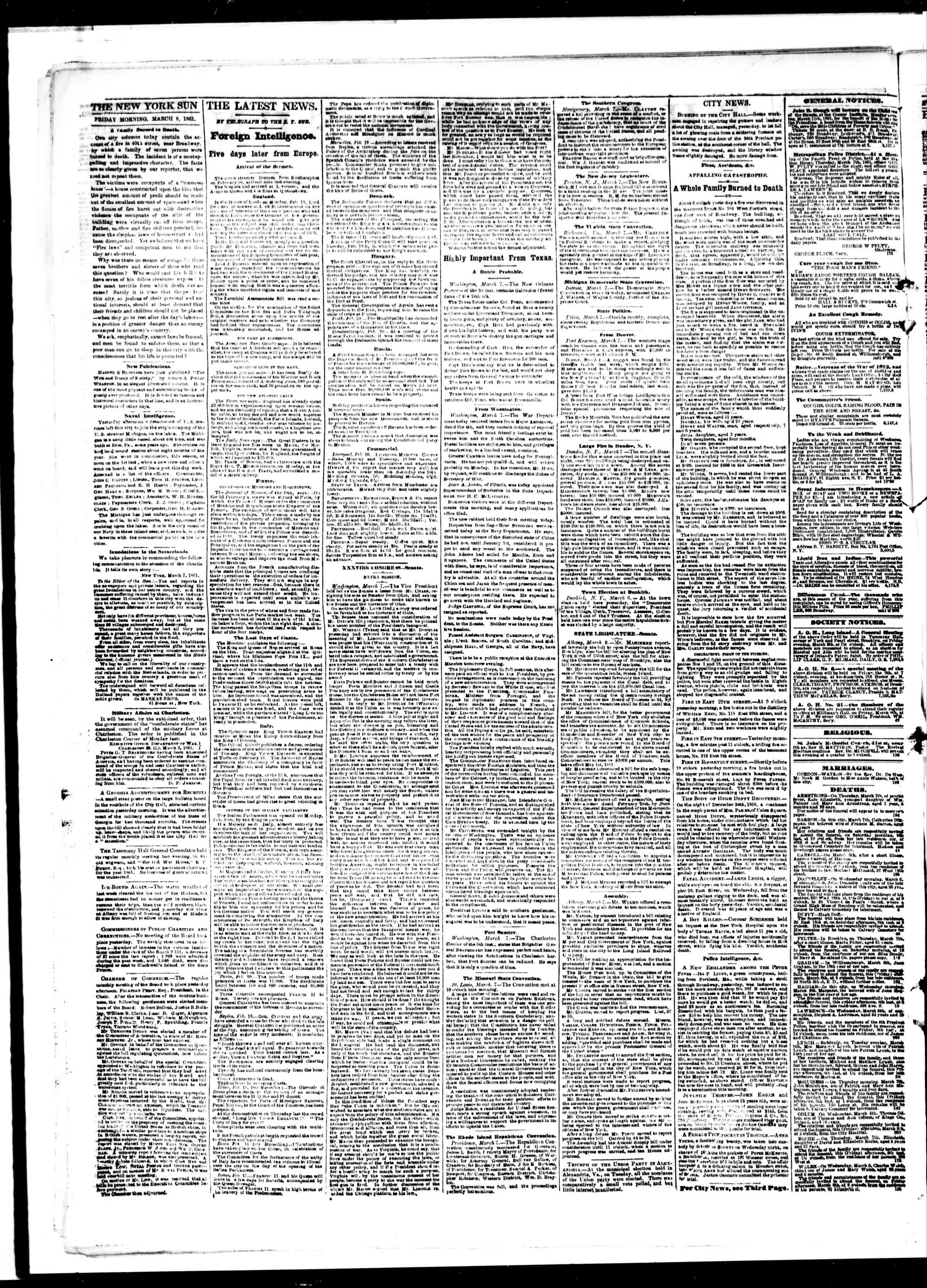 Newspaper of The Sun dated March 8, 1861 Page 2