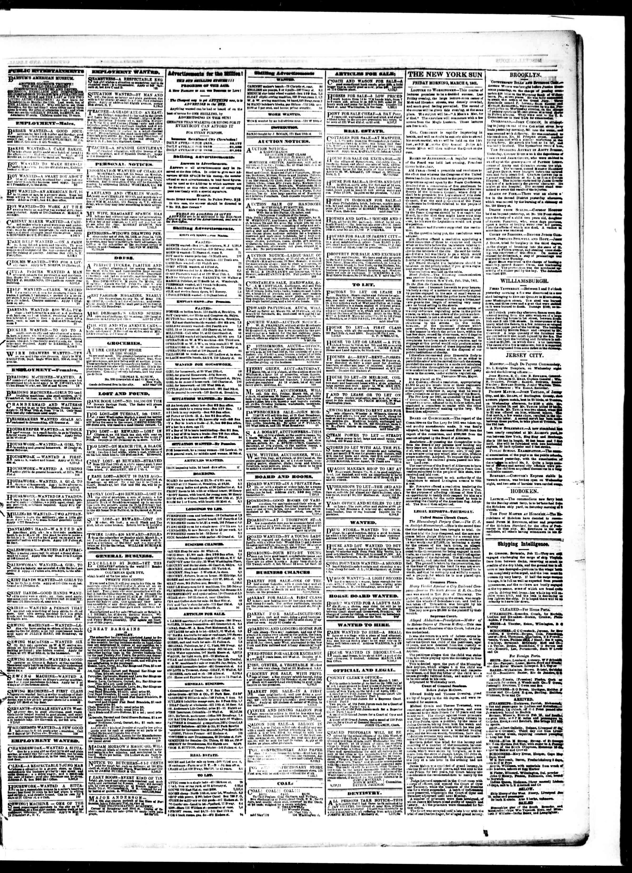 Newspaper of The Sun dated March 8, 1861 Page 3