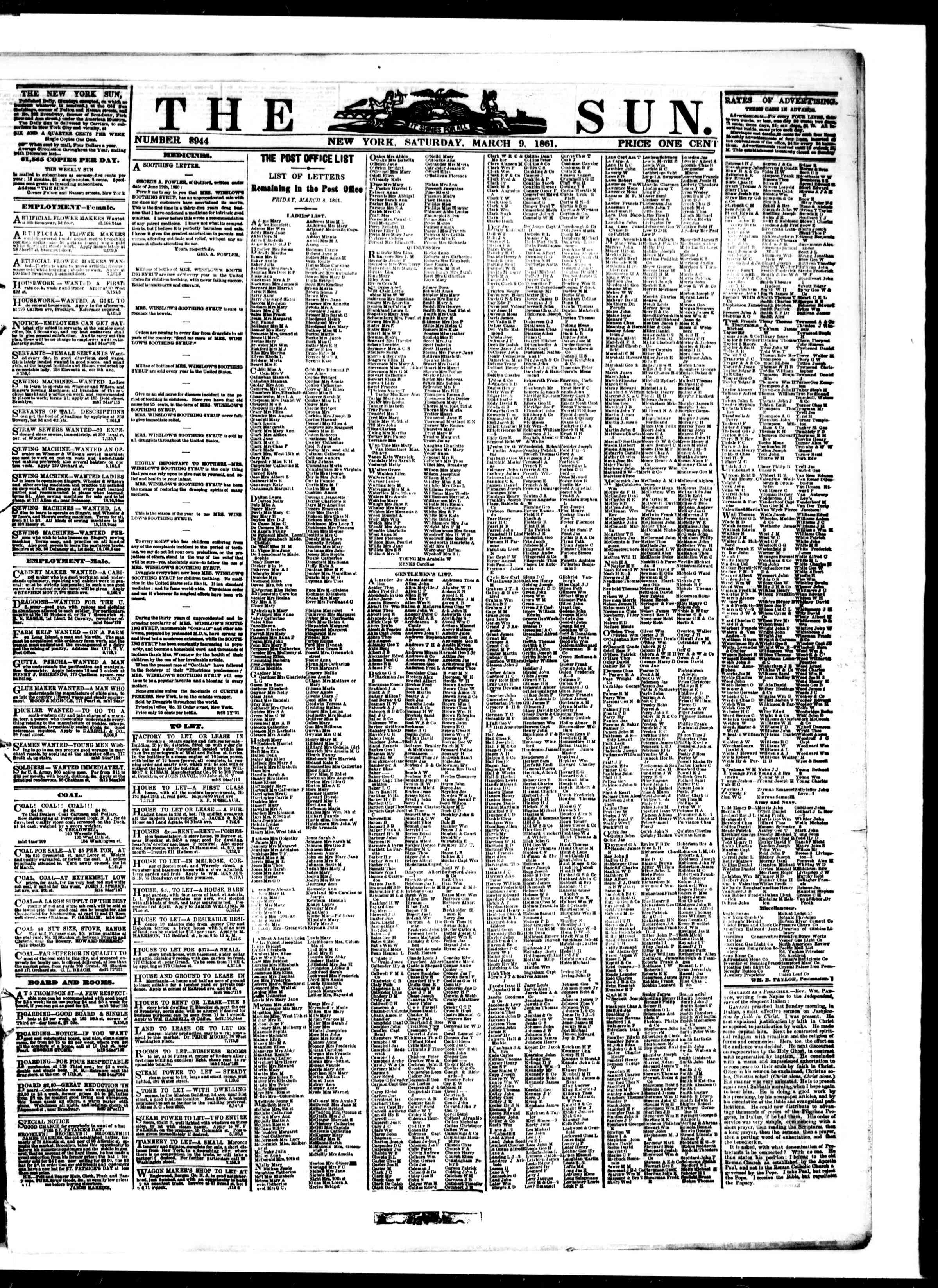 Newspaper of The Sun dated March 9, 1861 Page 1