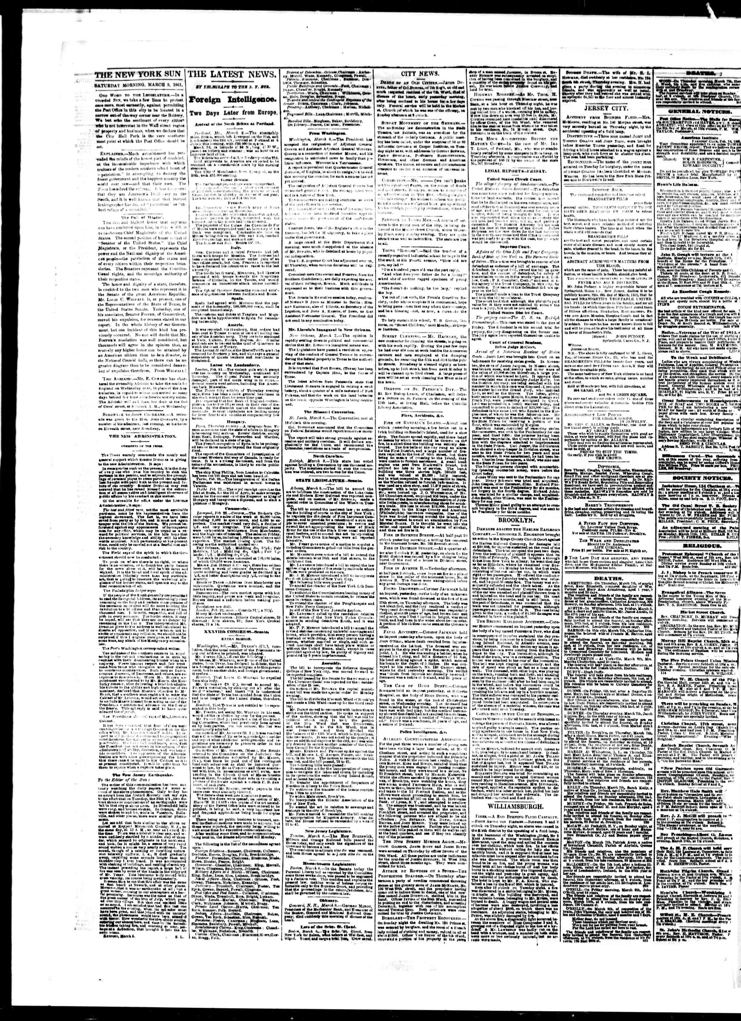 Newspaper of The Sun dated March 9, 1861 Page 2