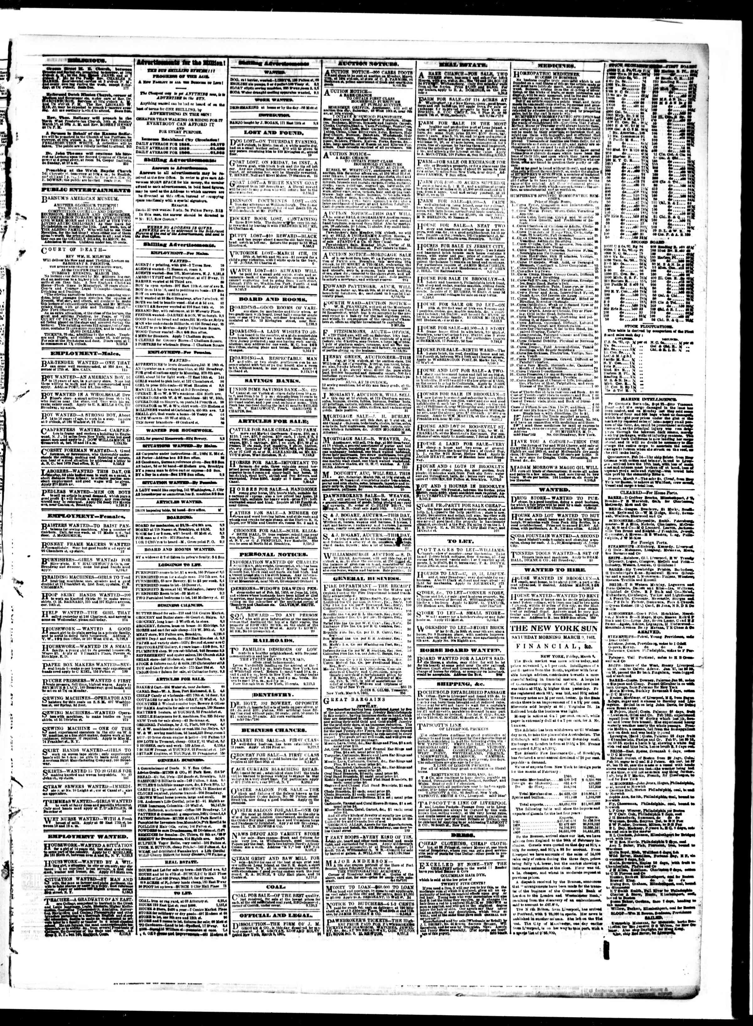 Newspaper of The Sun dated March 9, 1861 Page 3