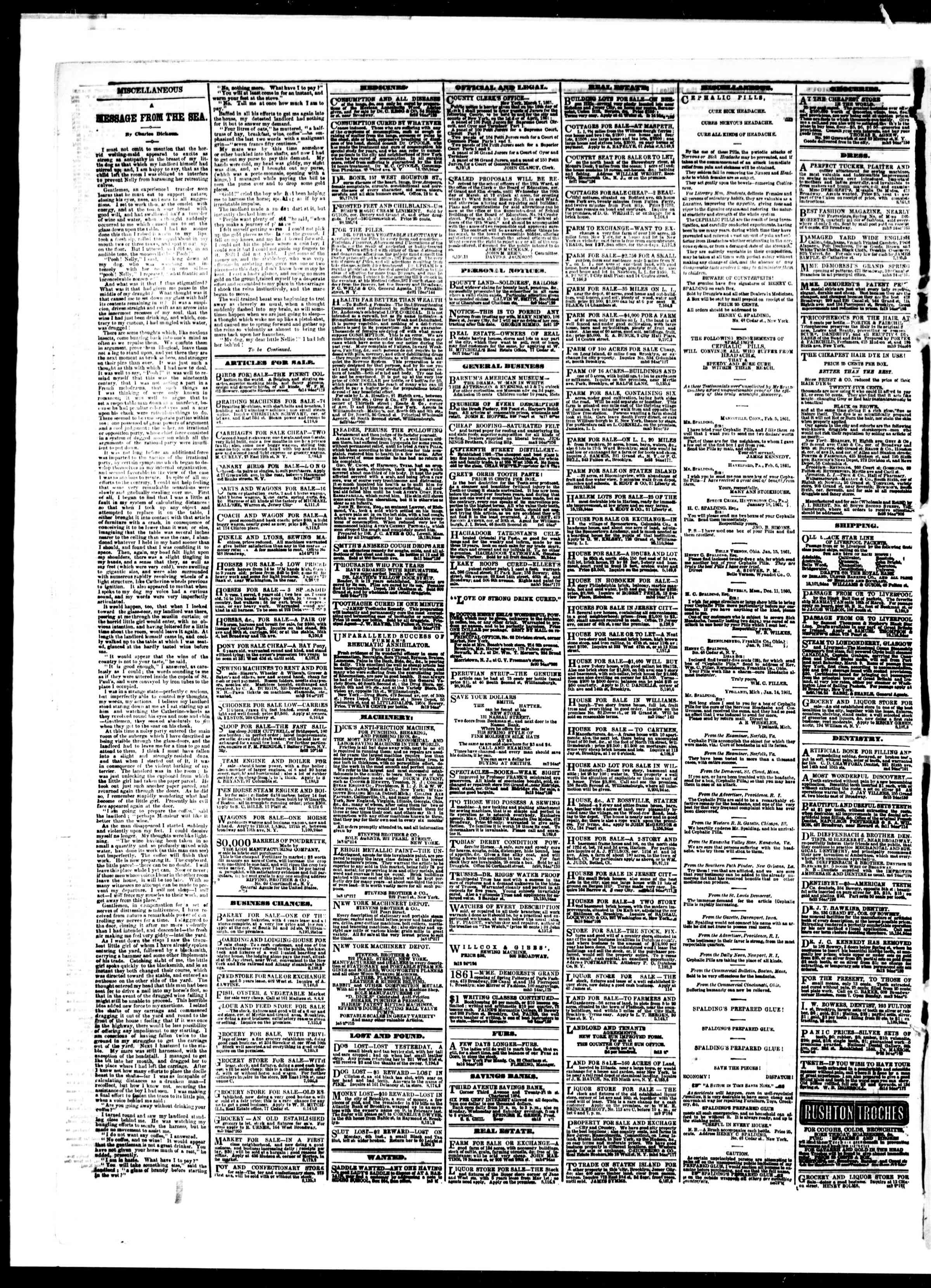 Newspaper of The Sun dated March 9, 1861 Page 4