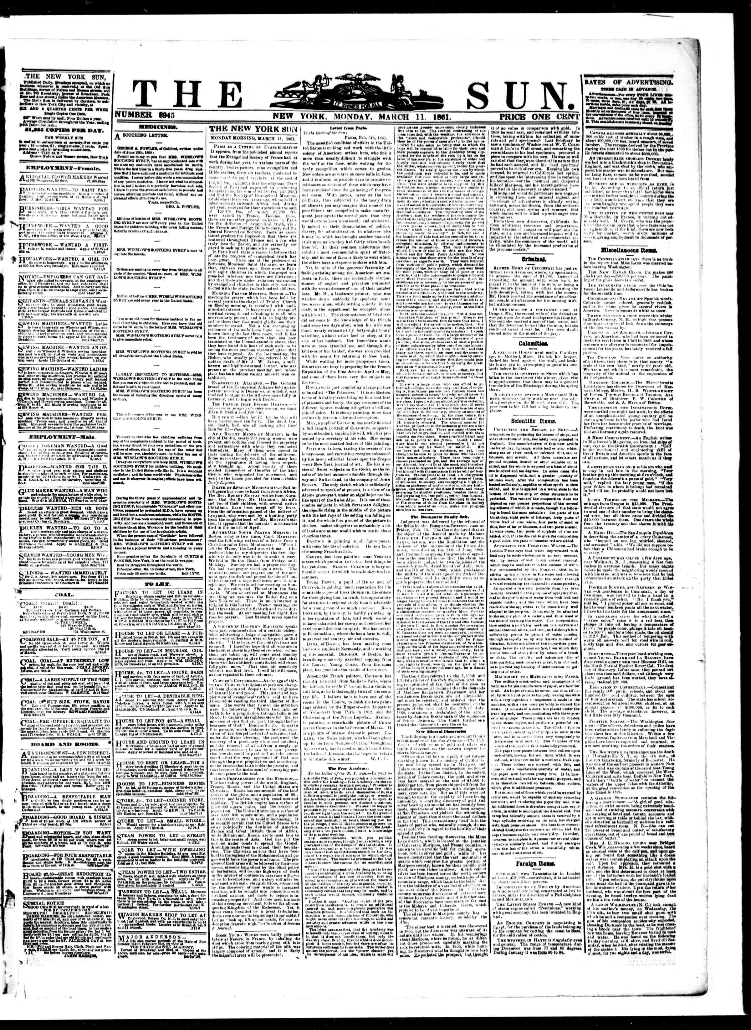 Newspaper of The Sun dated March 11, 1861 Page 1