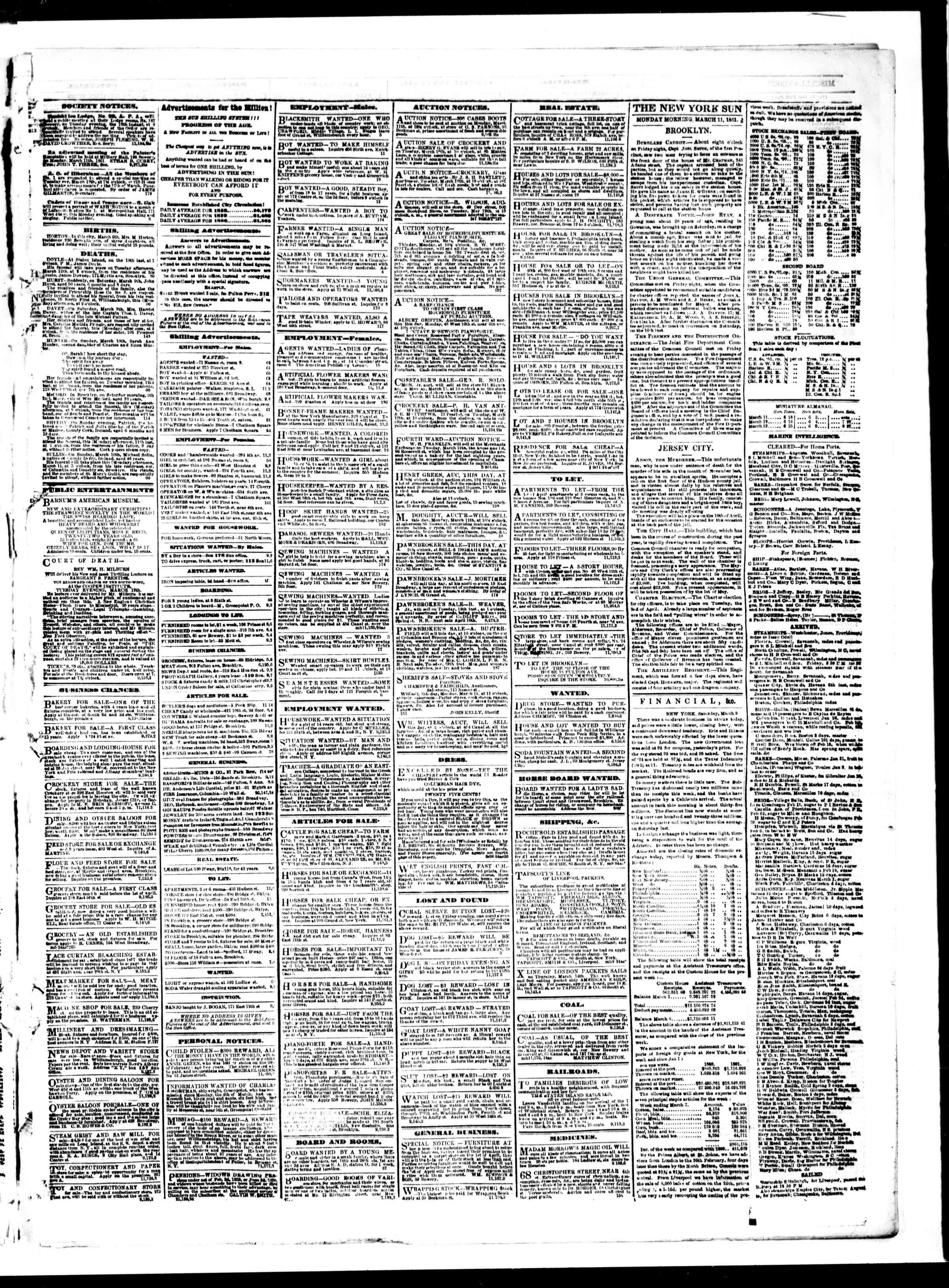 Newspaper of The Sun dated March 11, 1861 Page 3
