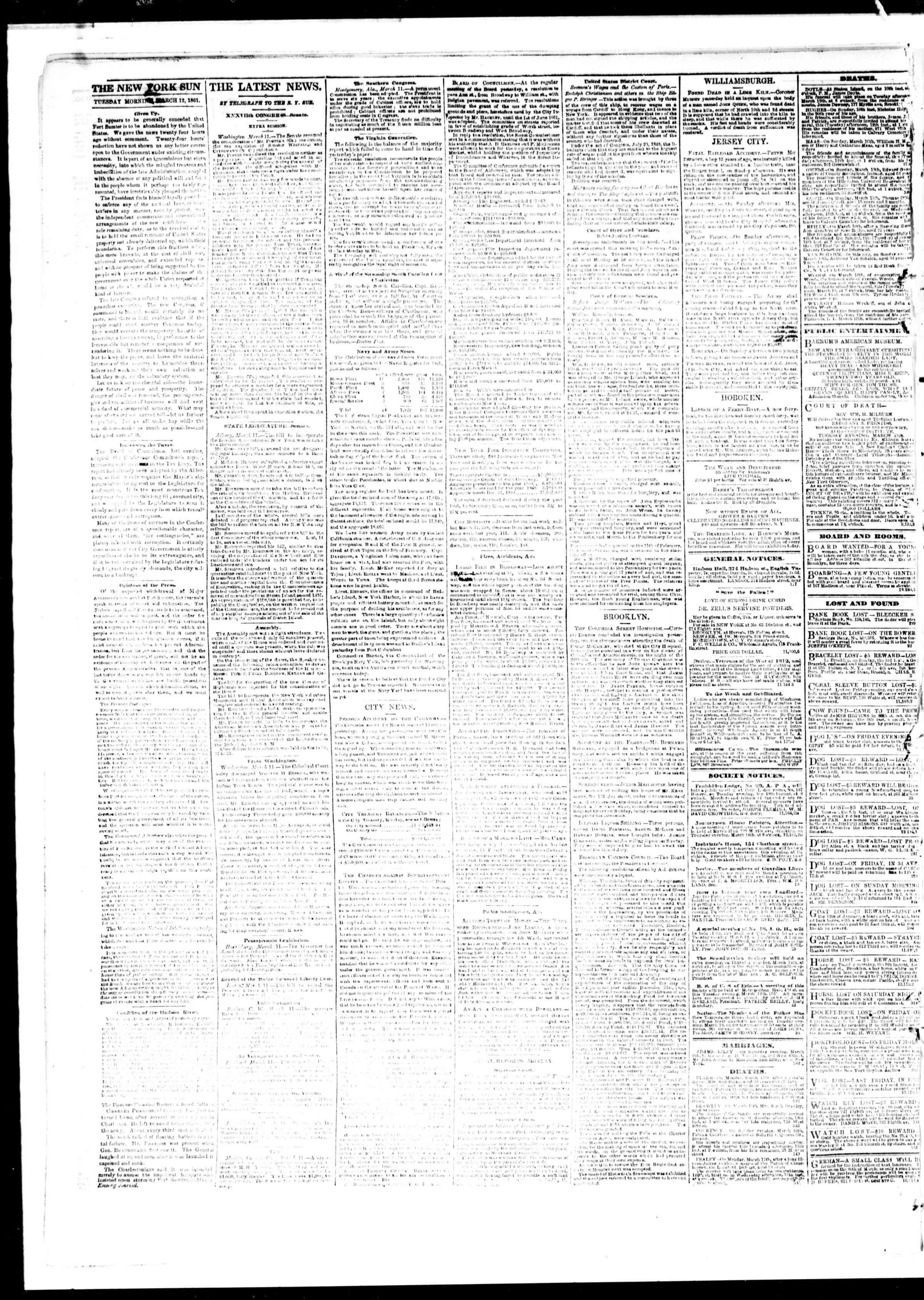 Newspaper of The Sun dated March 12, 1861 Page 2