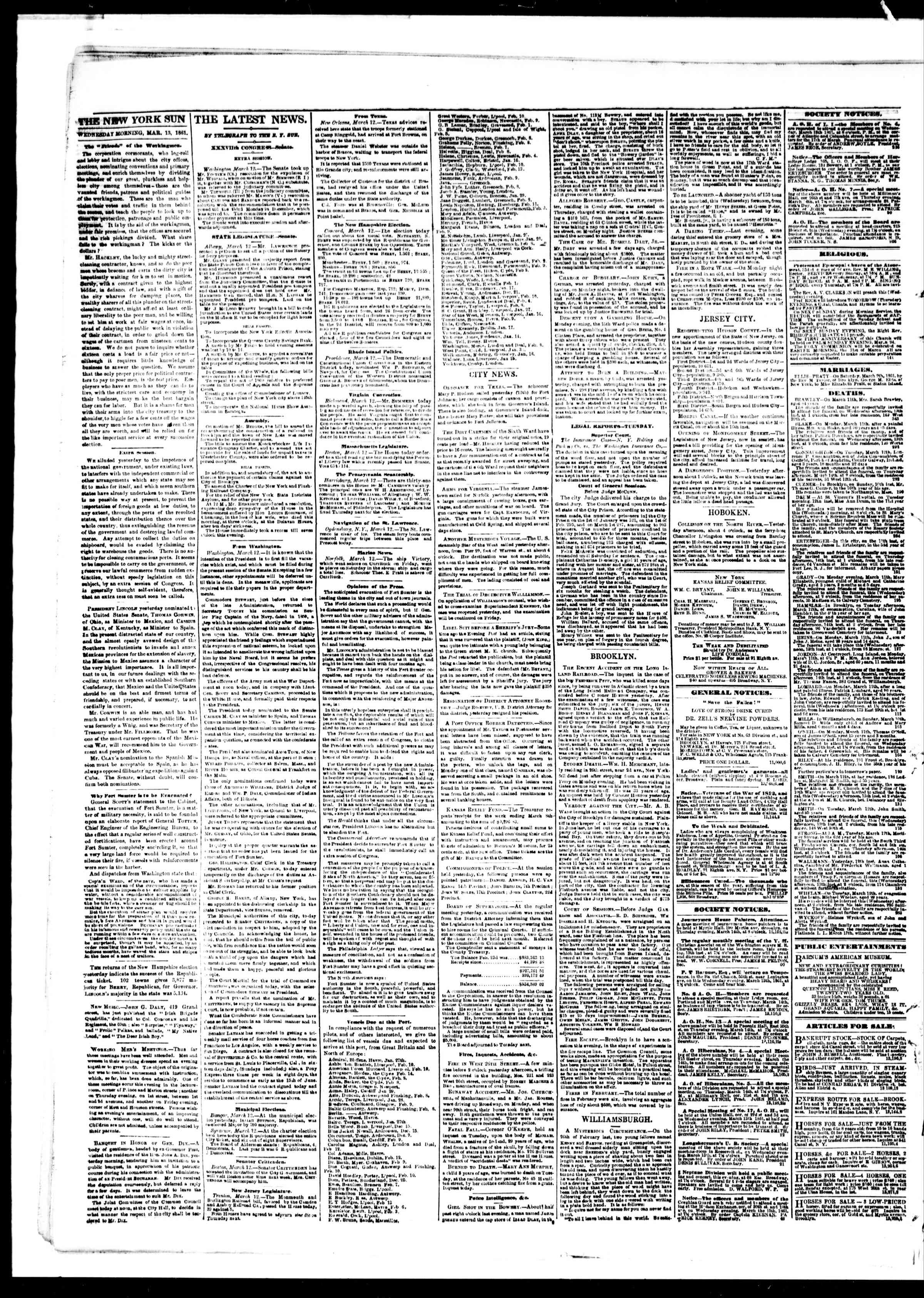Newspaper of The Sun dated March 13, 1861 Page 2