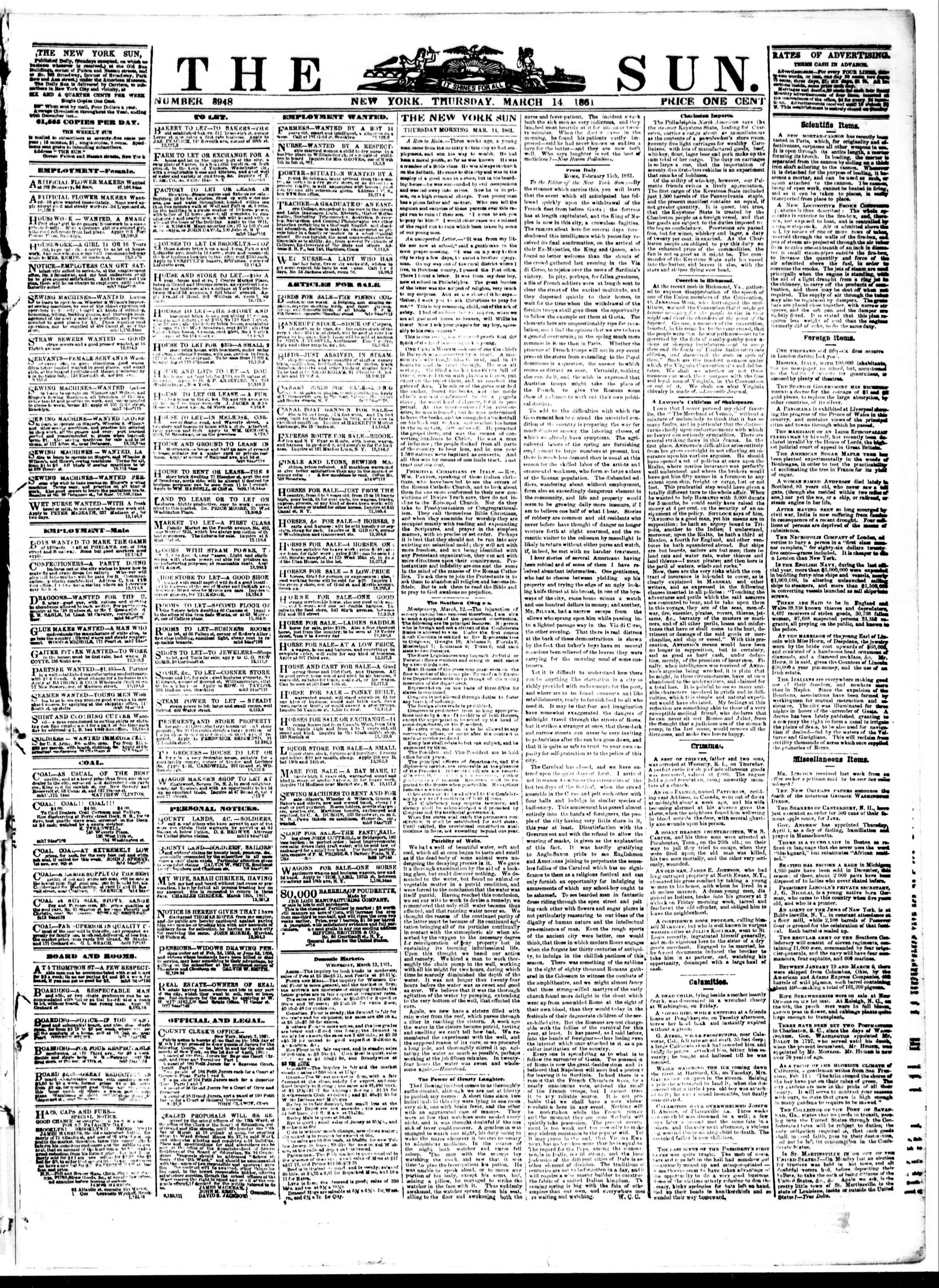 Newspaper of The Sun dated March 14, 1861 Page 1
