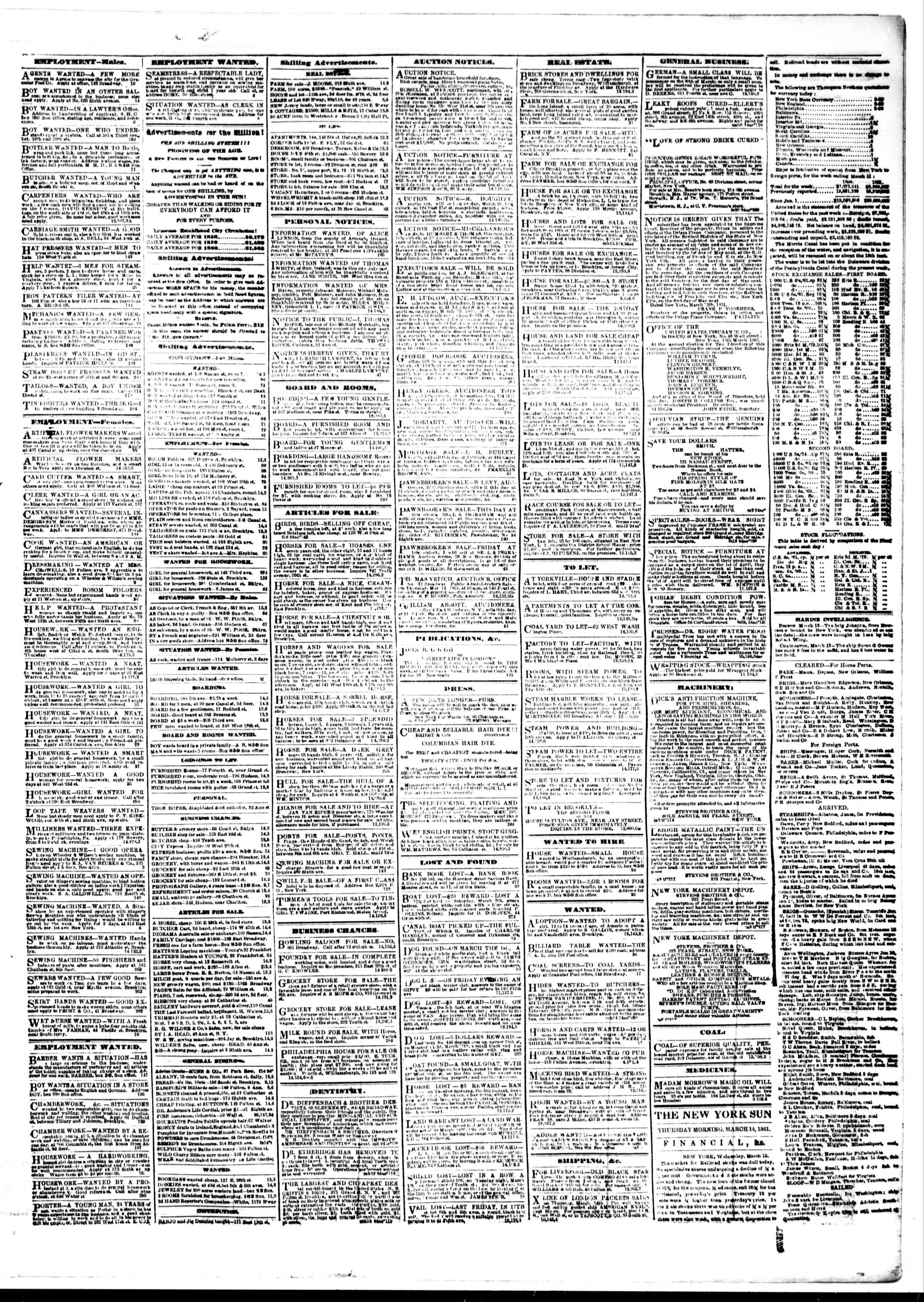 Newspaper of The Sun dated March 14, 1861 Page 3