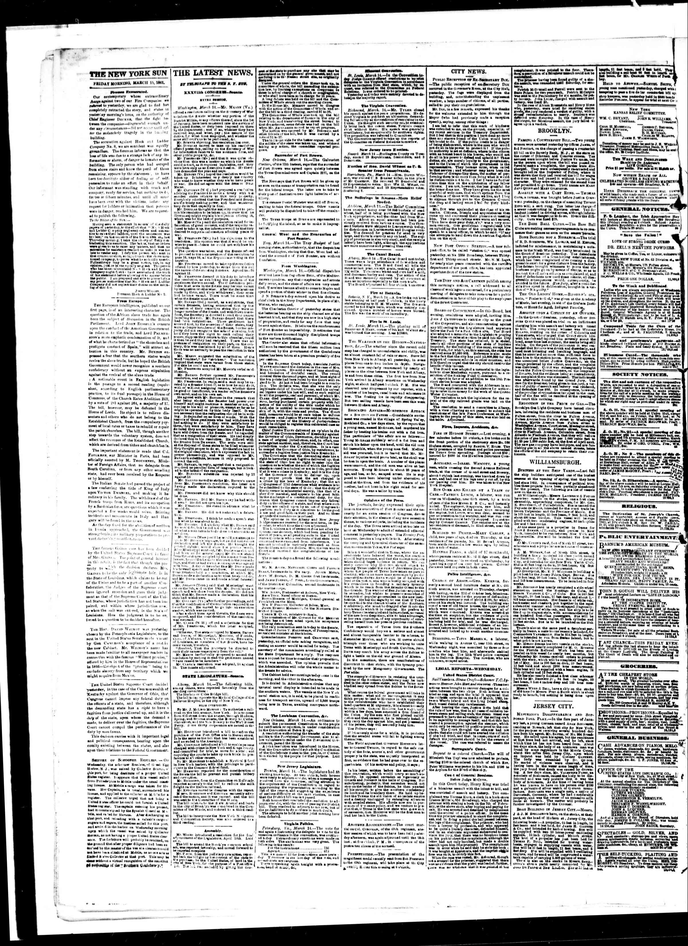 Newspaper of The Sun dated March 15, 1861 Page 2