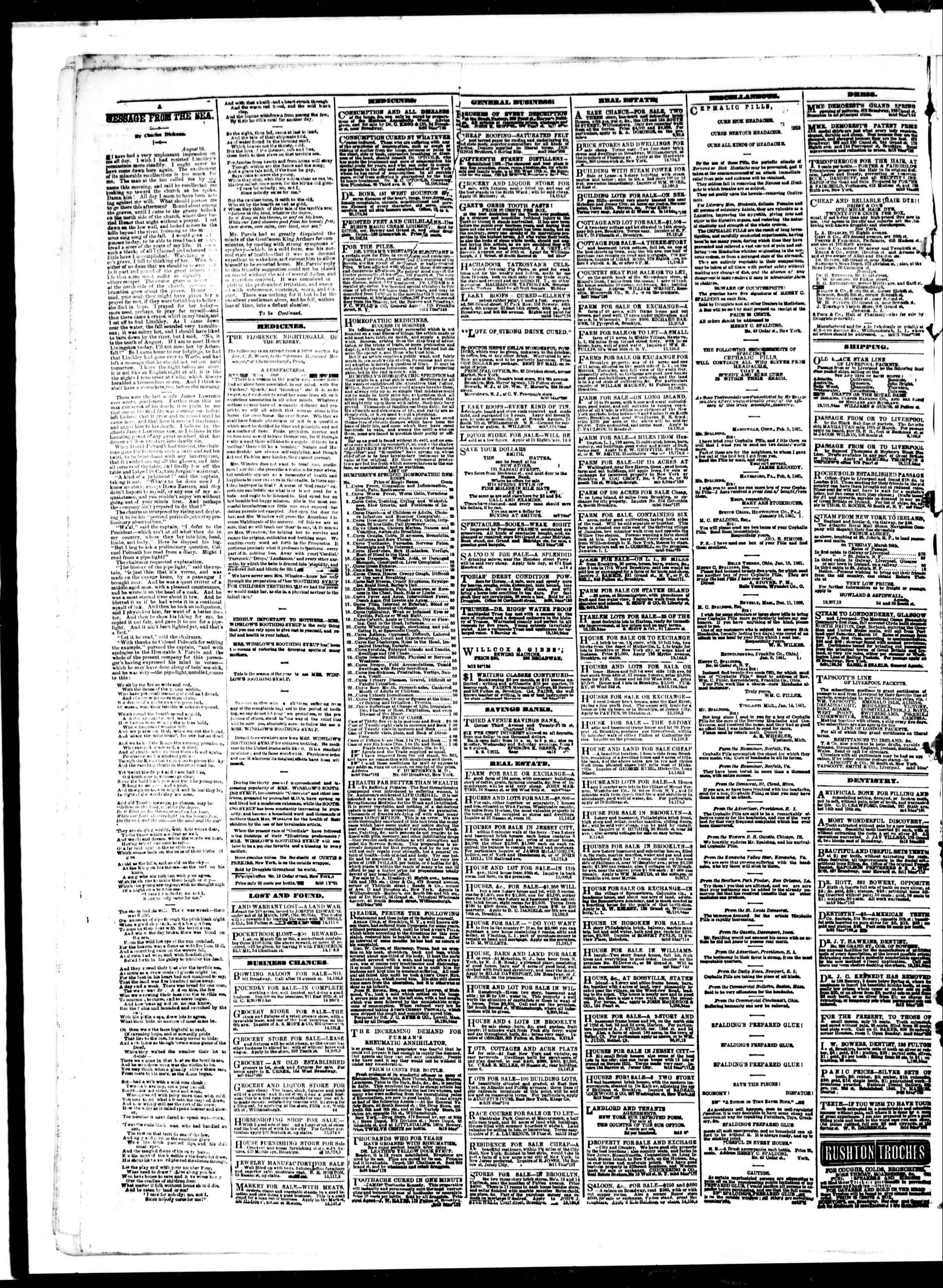 Newspaper of The Sun dated March 15, 1861 Page 4