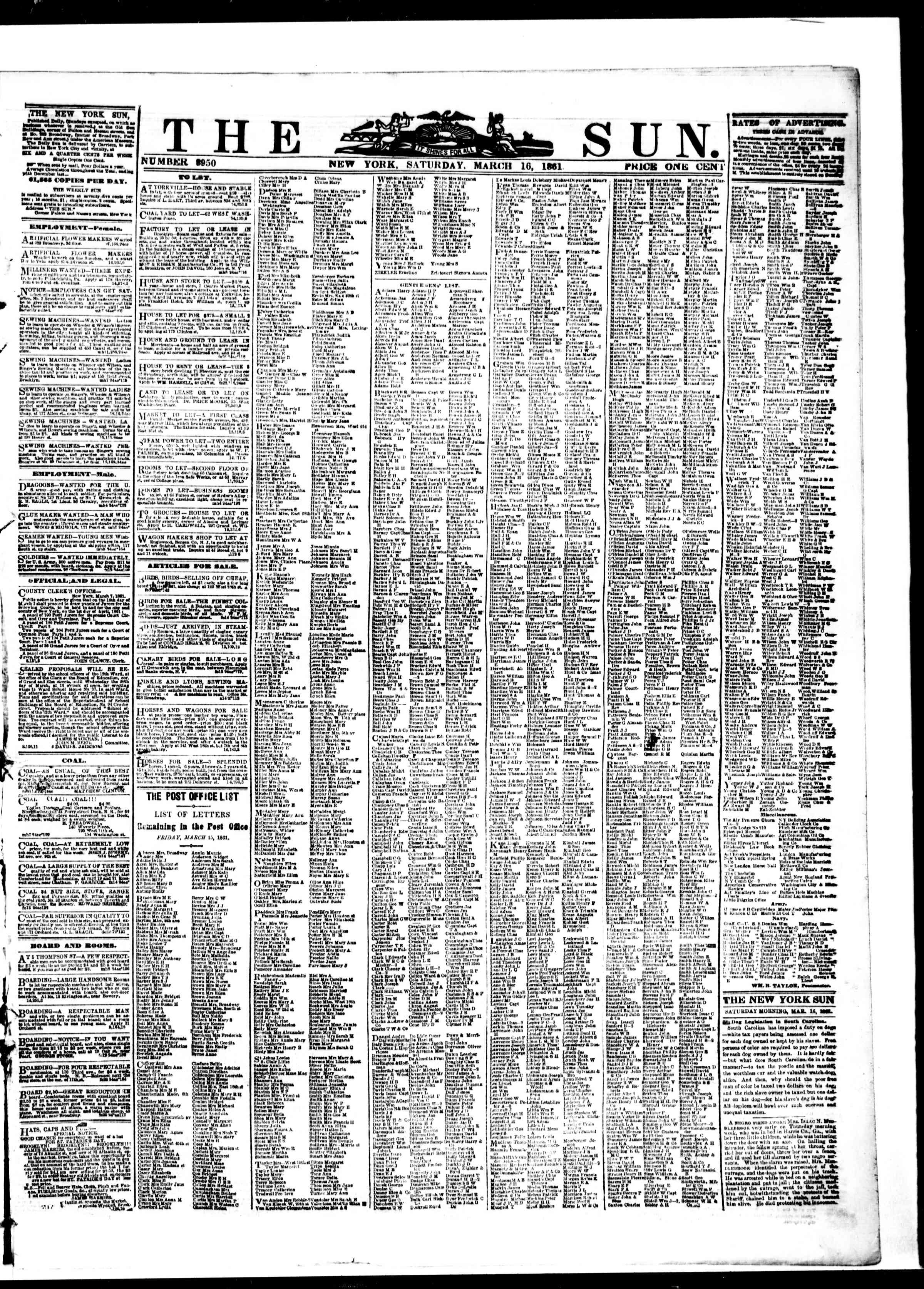 Newspaper of The Sun dated March 16, 1861 Page 1