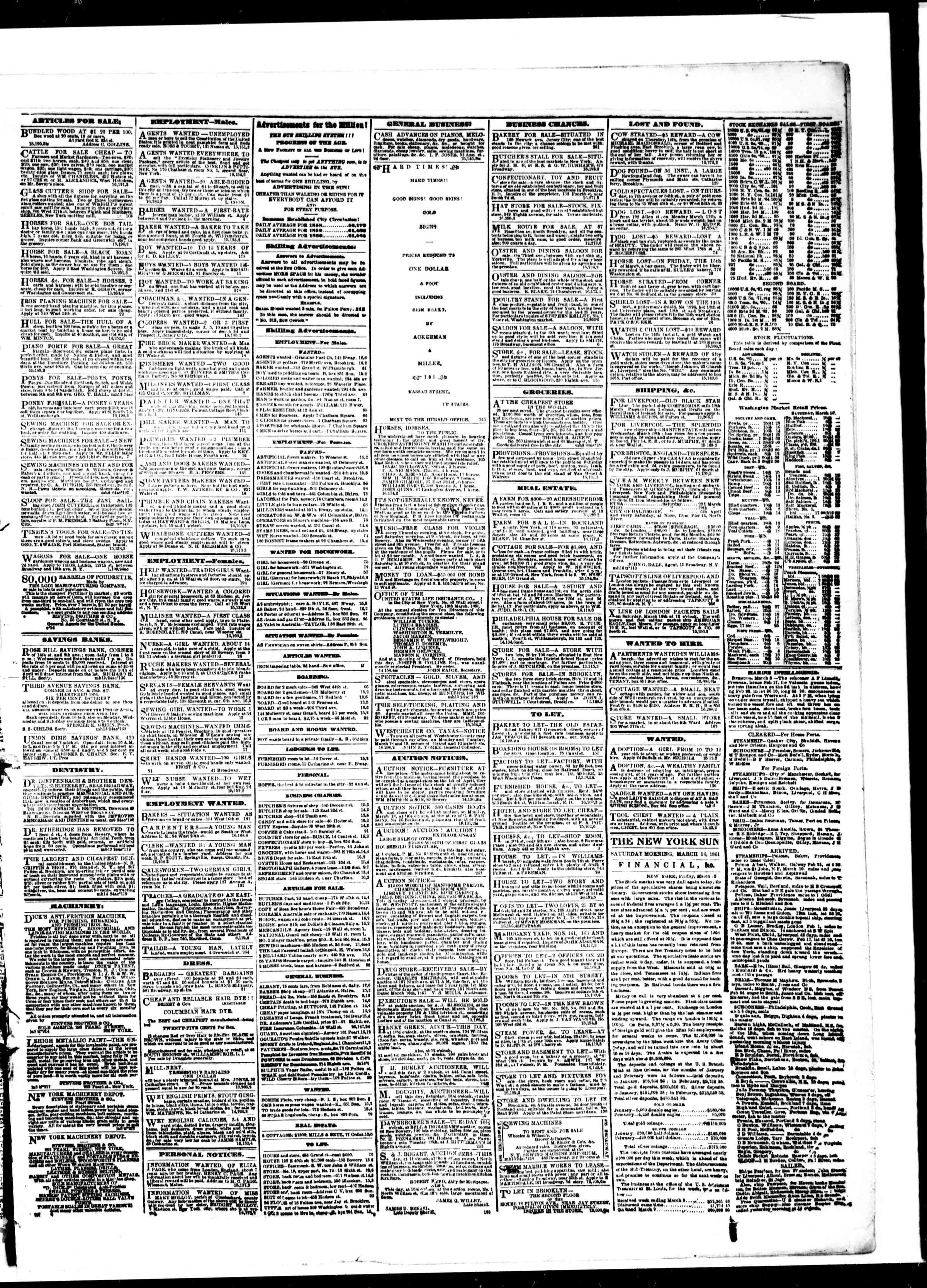 Newspaper of The Sun dated March 16, 1861 Page 3