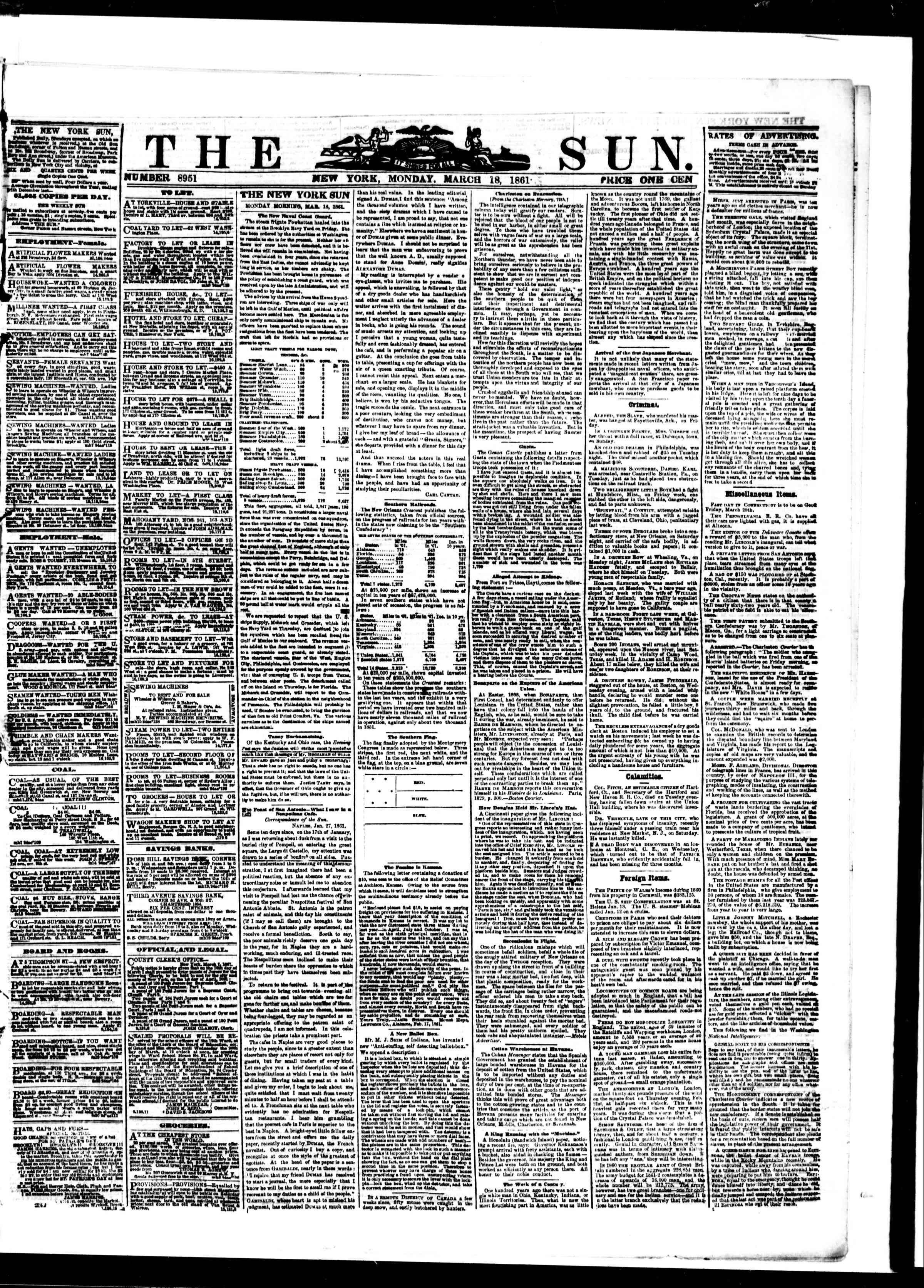 Newspaper of The Sun dated March 18, 1861 Page 1