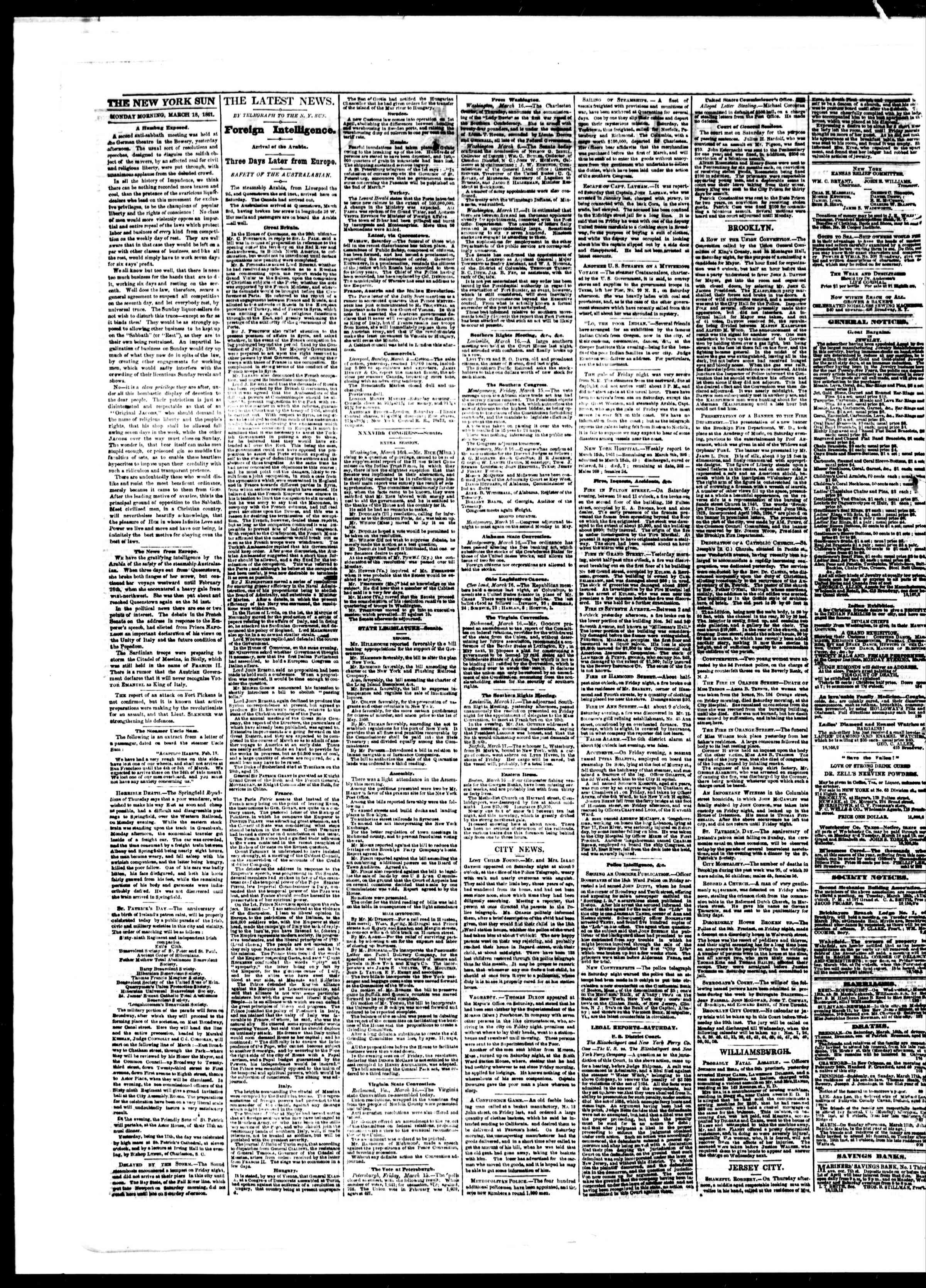 Newspaper of The Sun dated March 18, 1861 Page 2